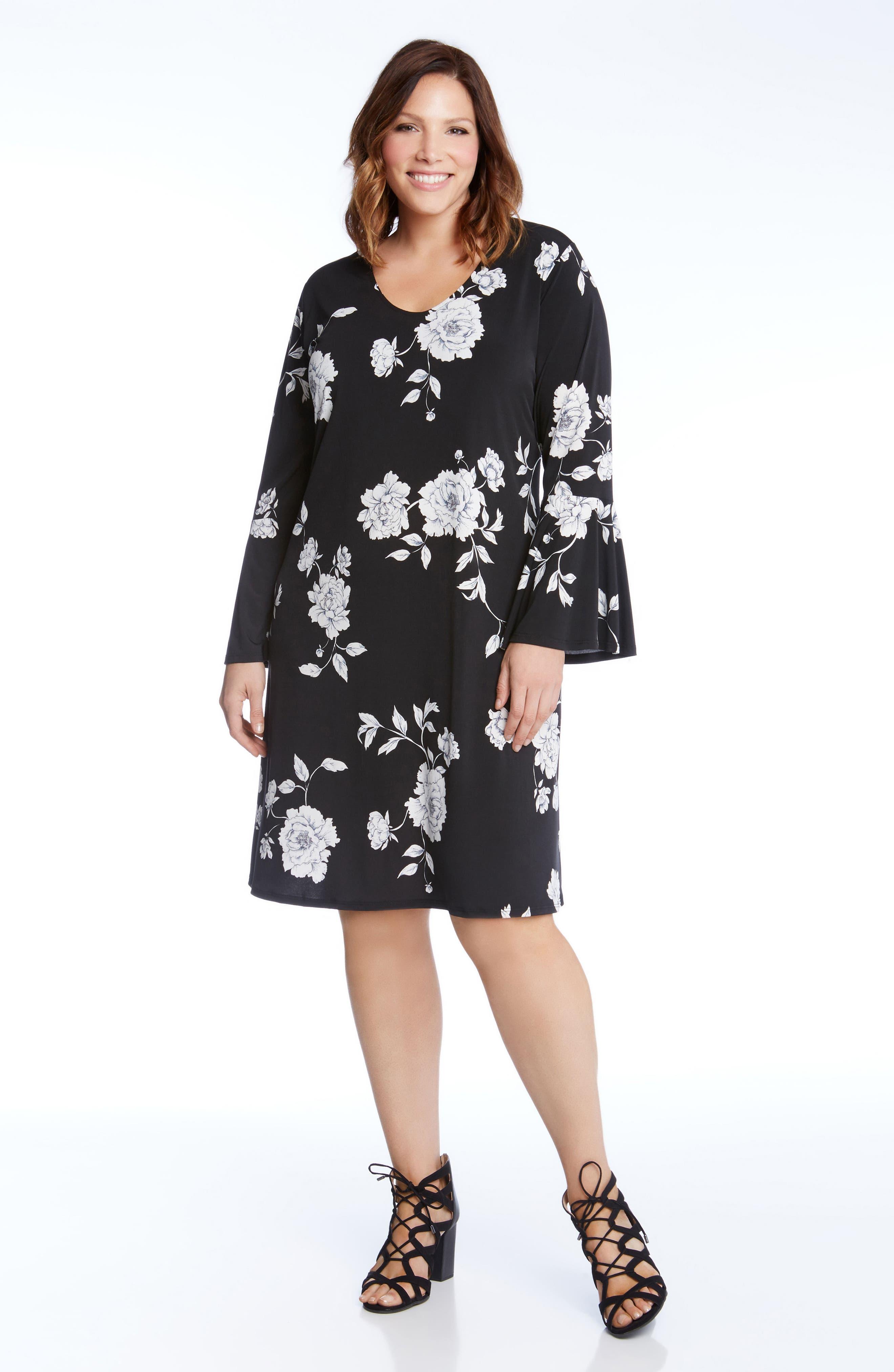 Alternate Image 2  - Karen Kane Taylor Flare Sleeve Swing Dress (Plus Size)