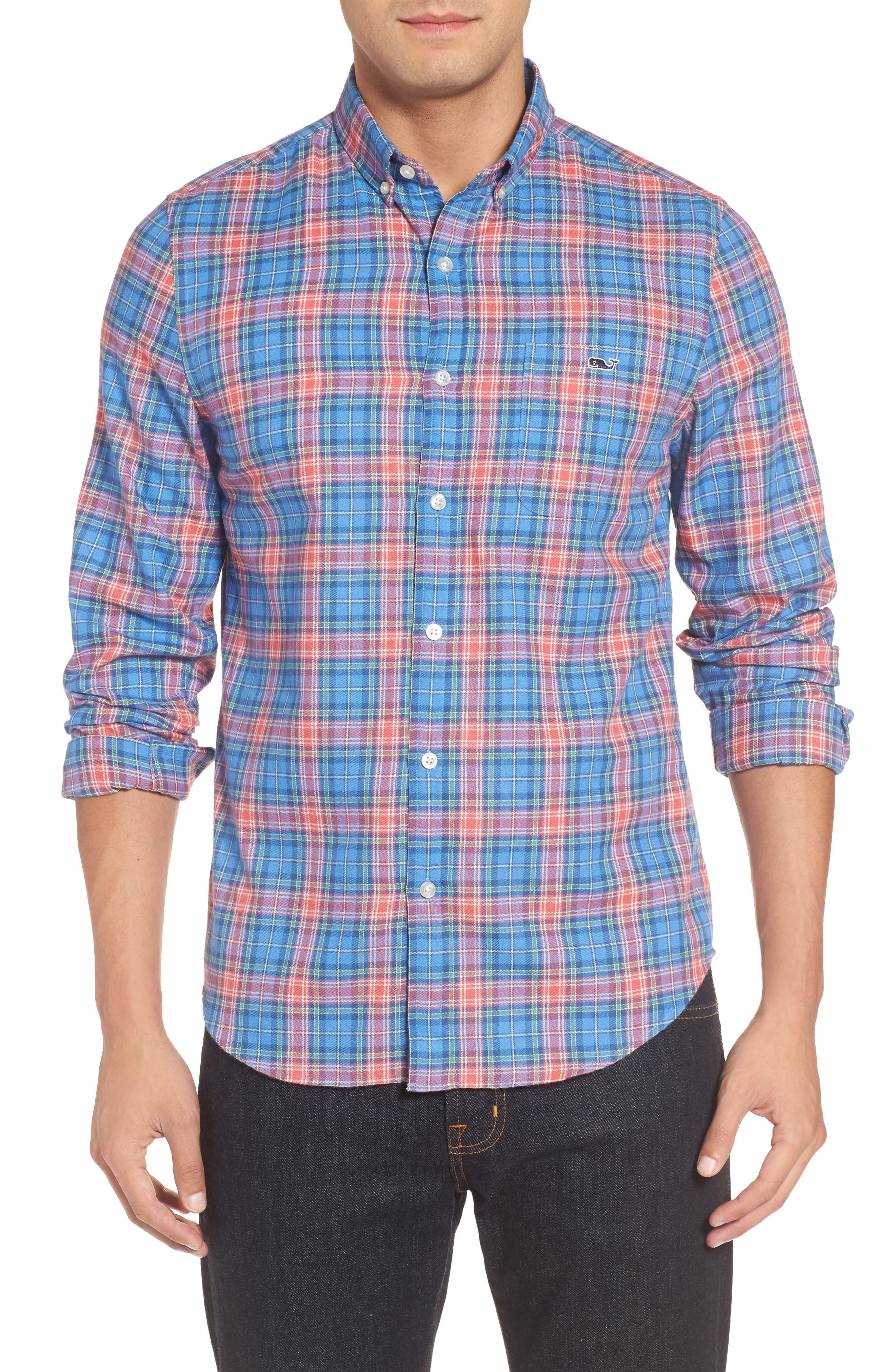 Kingsley Park Slim Fit Plaid Sport Shirt,                         Main,                         color, Bimini Blue