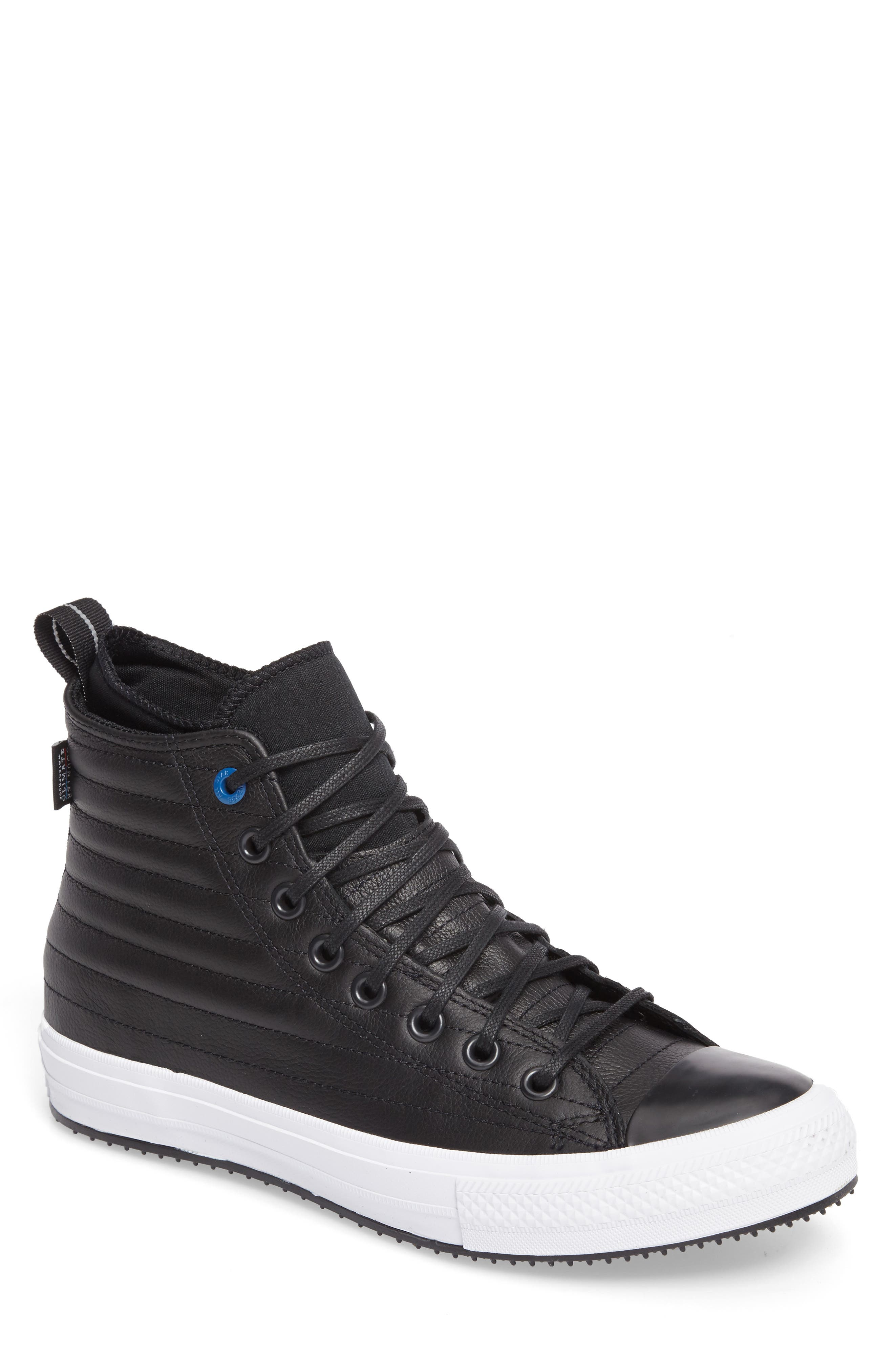Chuck Taylor<sup>®</sup> All Star<sup>®</sup> Waterproof Quilted Sneaker,                         Main,                         color, Black Leather