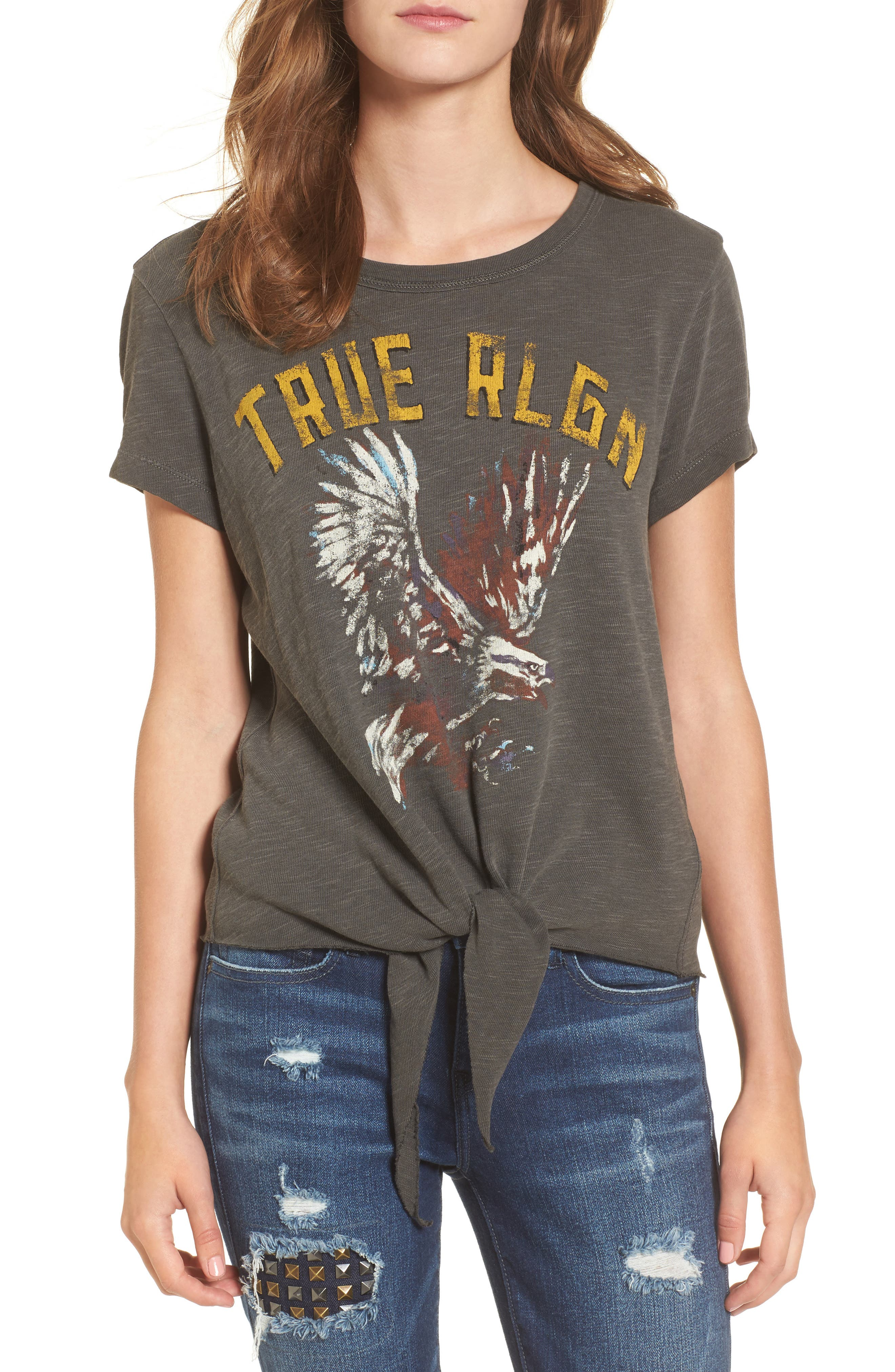Eagle Tie Front Tee,                         Main,                         color, Charcoal