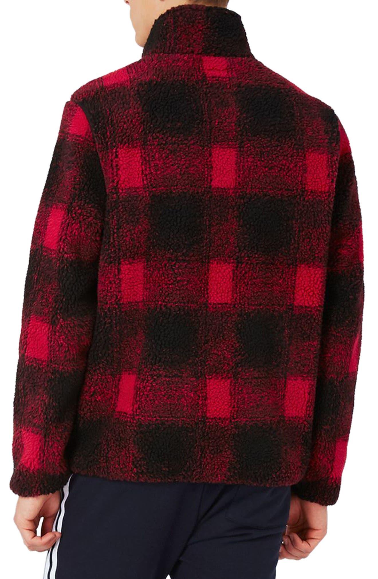 Buffalo Check Borg Jacket,                             Alternate thumbnail 2, color,                             Red Multi