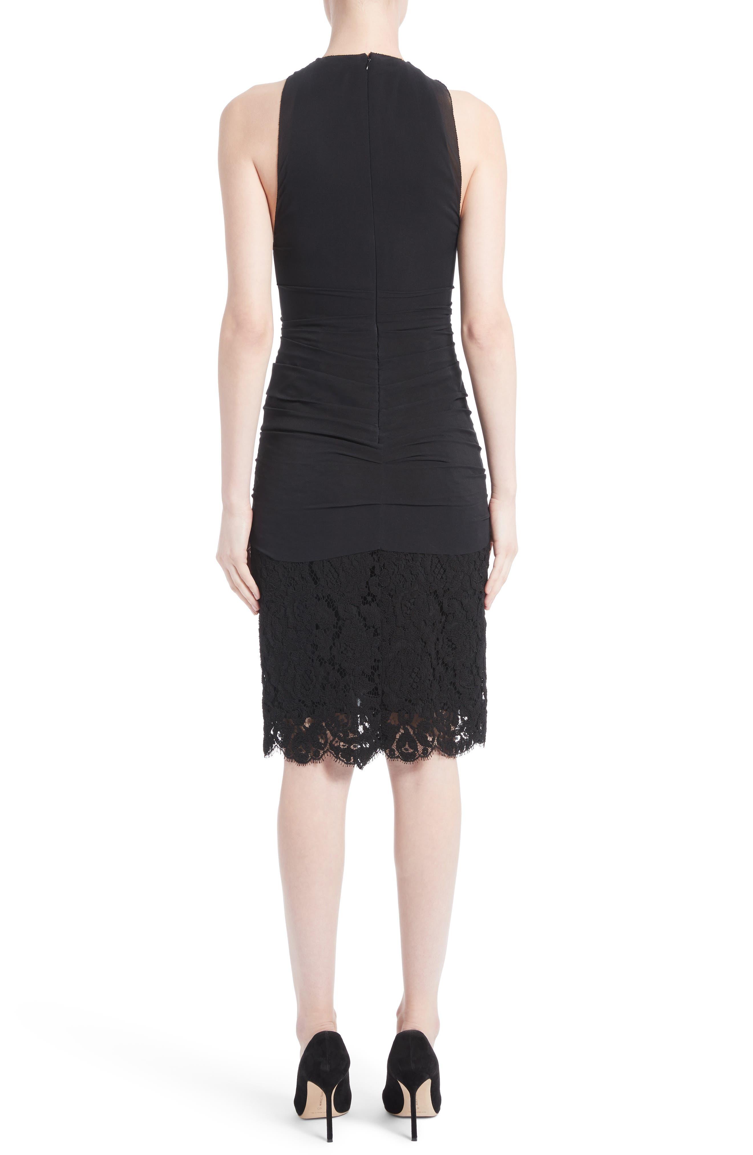 Ruffle Front Corded Lace Hem Dress,                             Alternate thumbnail 2, color,                             Black