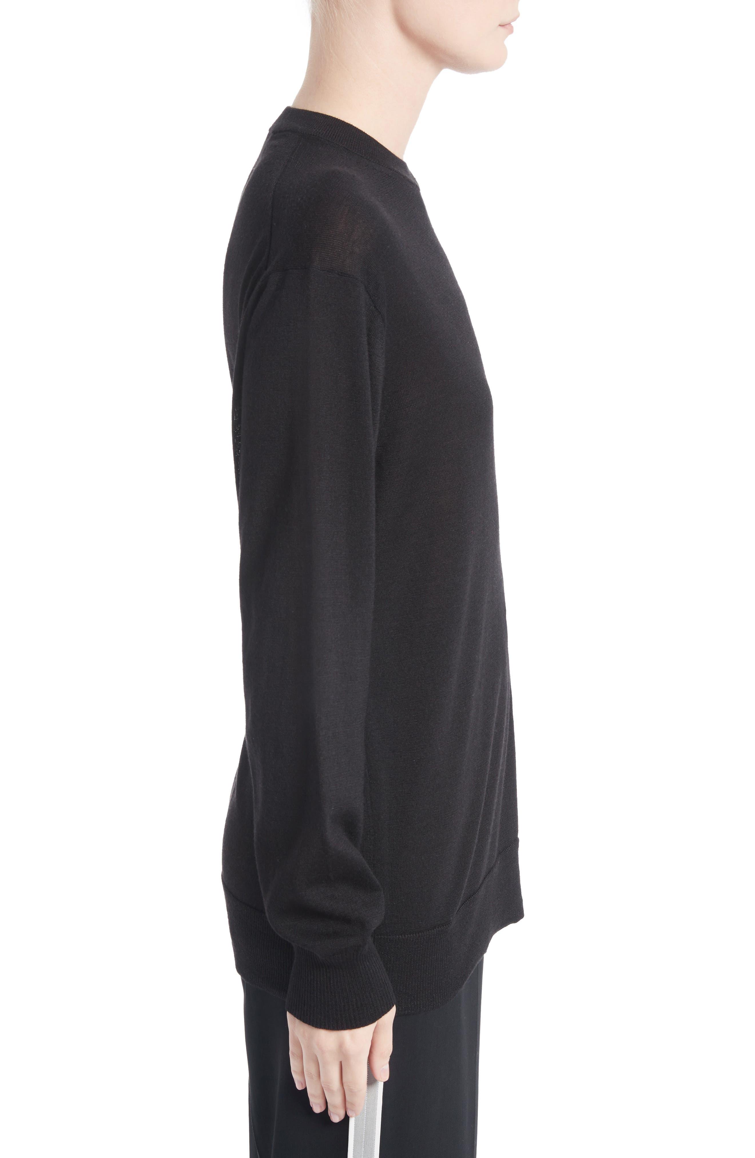Clinch Detail Sweater,                             Alternate thumbnail 3, color,                             Black
