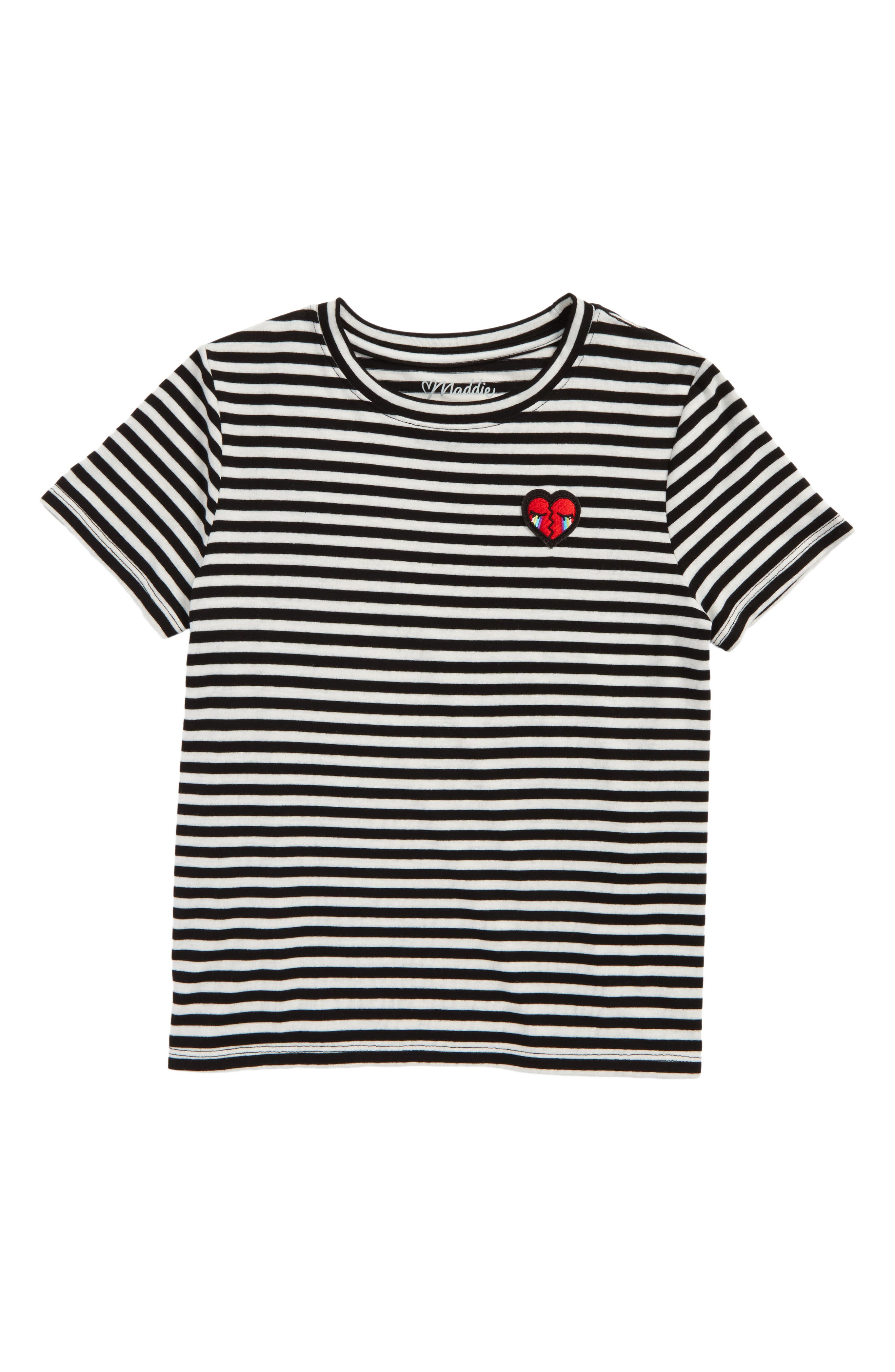 Alternate Image 1 Selected - Maddie Heart Patch Stripe Tee (Big Girls)