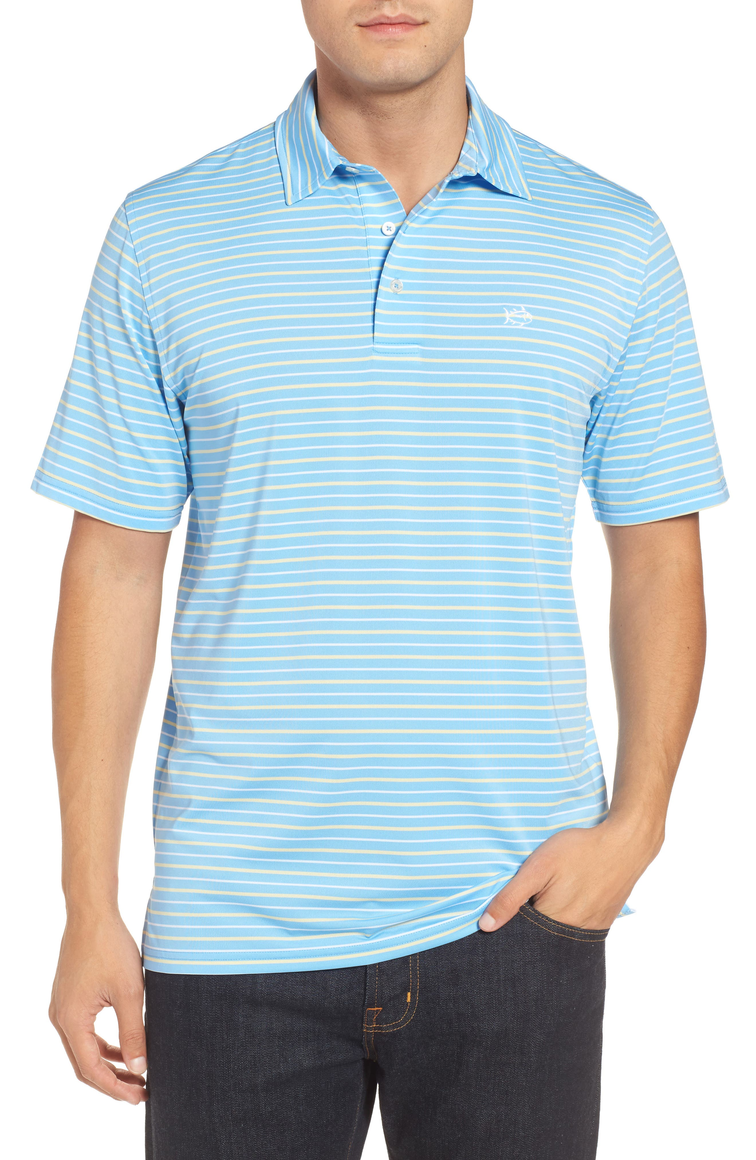 Driver Tico Stripe Polo,                             Main thumbnail 1, color,                             Ocean Channel