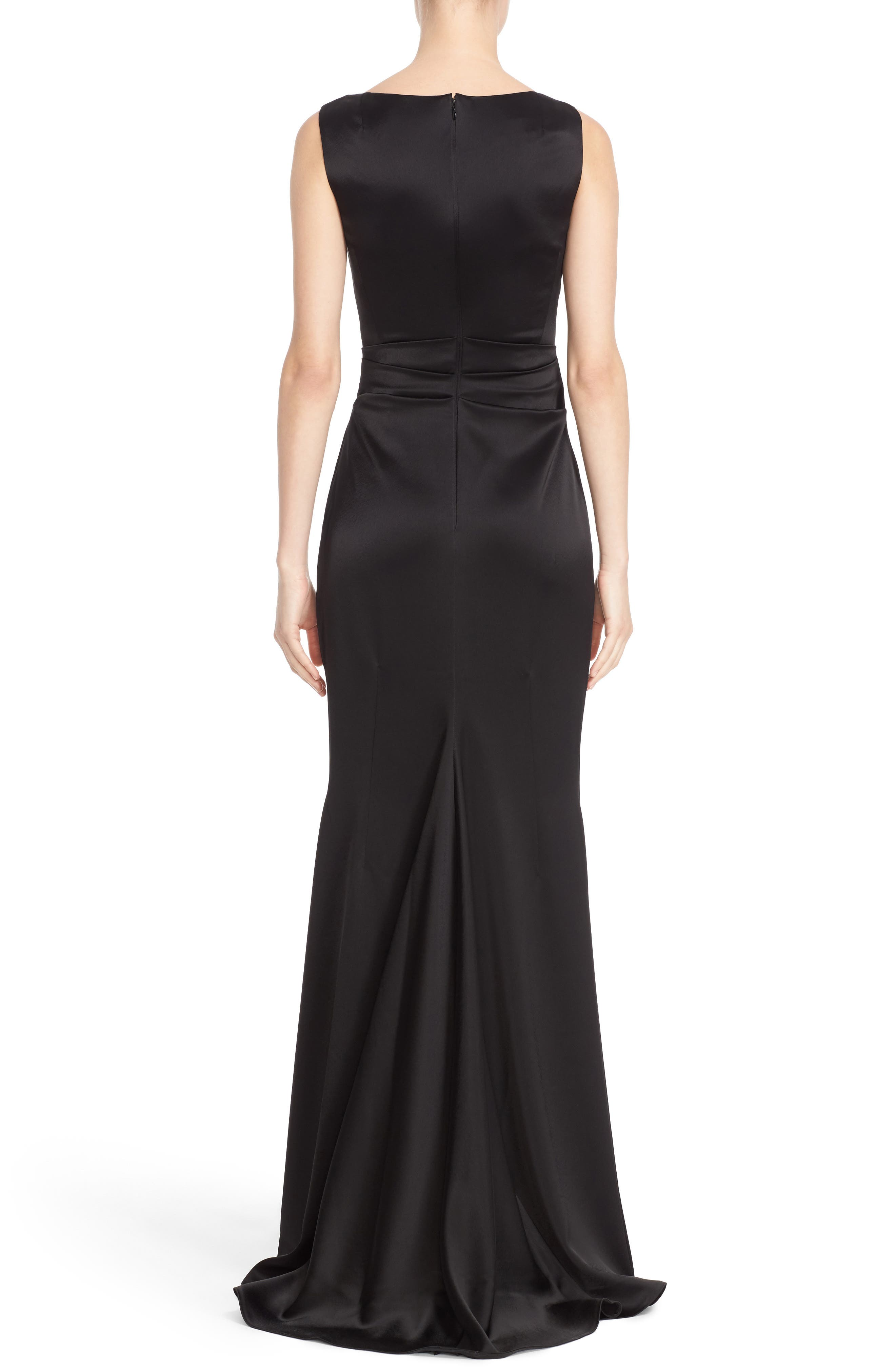 Drape V-Neck Matte Crepe Column Gown,                             Alternate thumbnail 2, color,                             Black