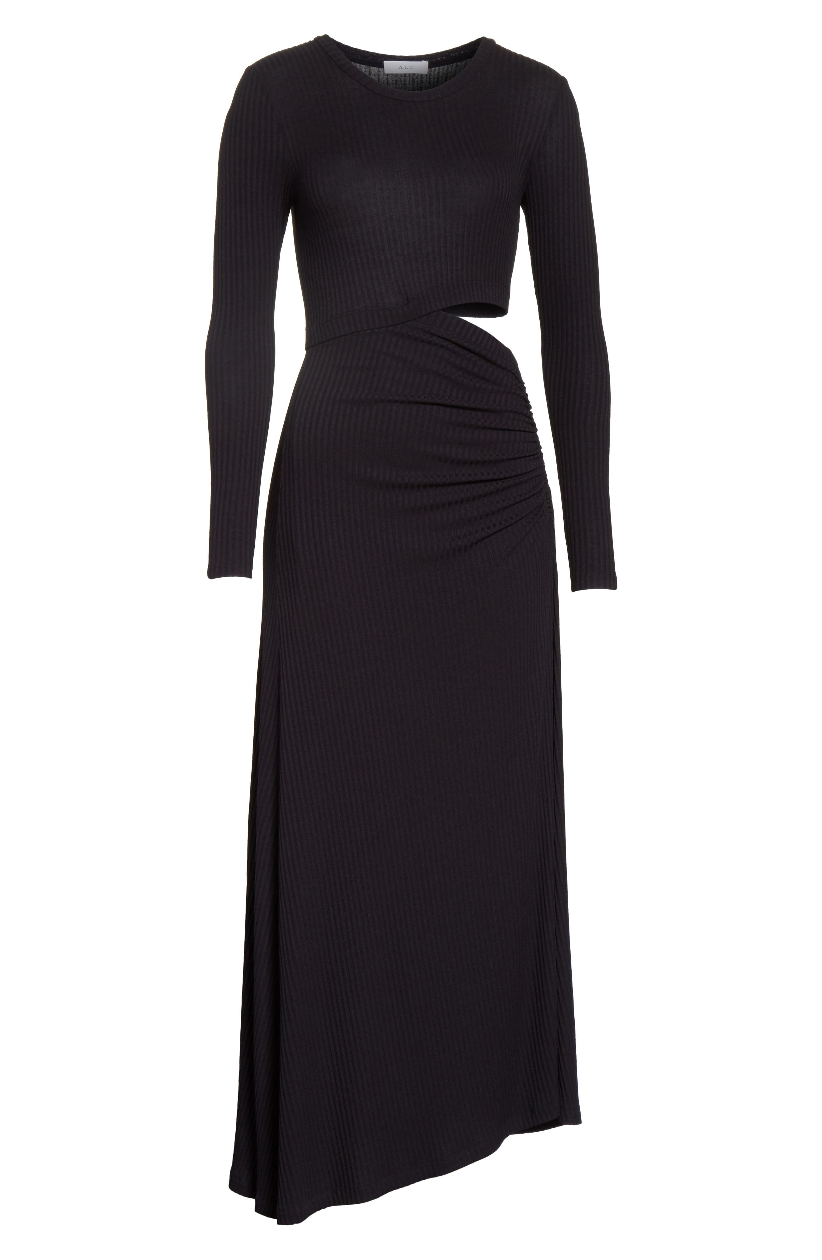 Rooney Cutout Dress,                             Alternate thumbnail 6, color,                             Black
