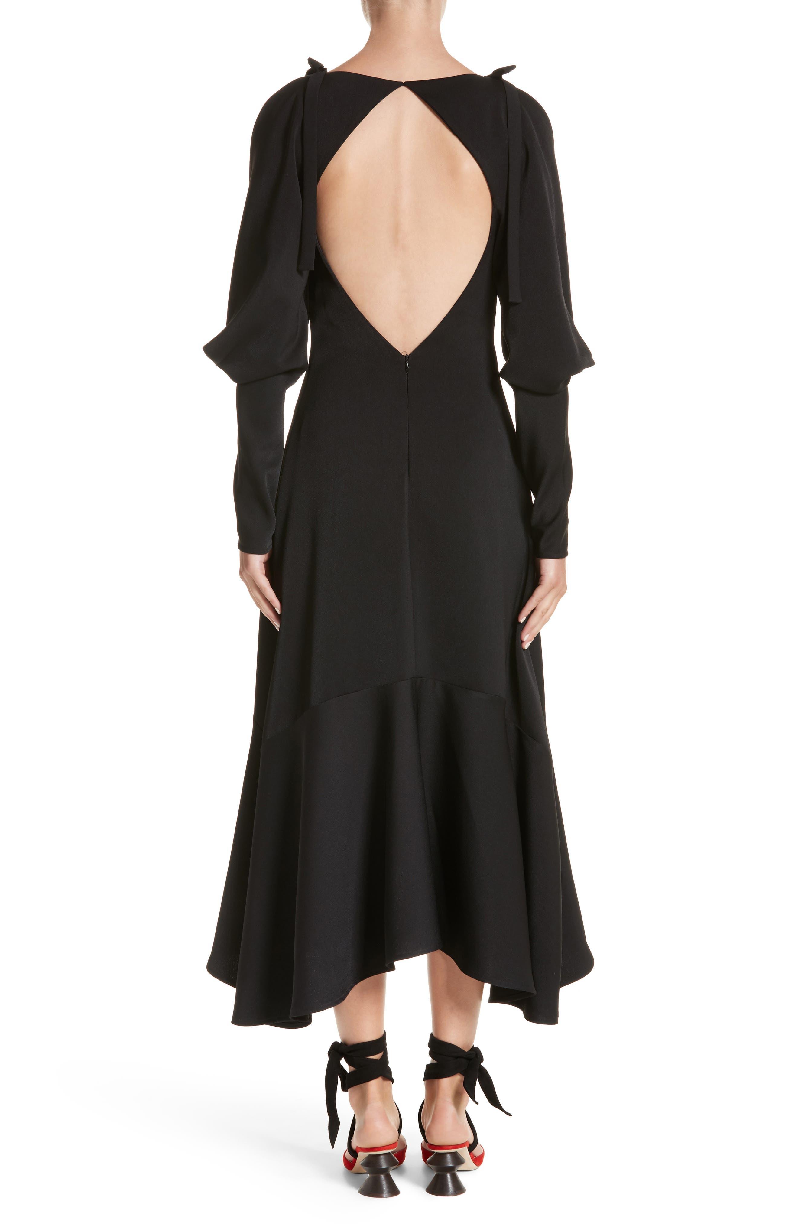Open Back Cold Shoulder Dress,                             Alternate thumbnail 2, color,                             Crepe Satin Black