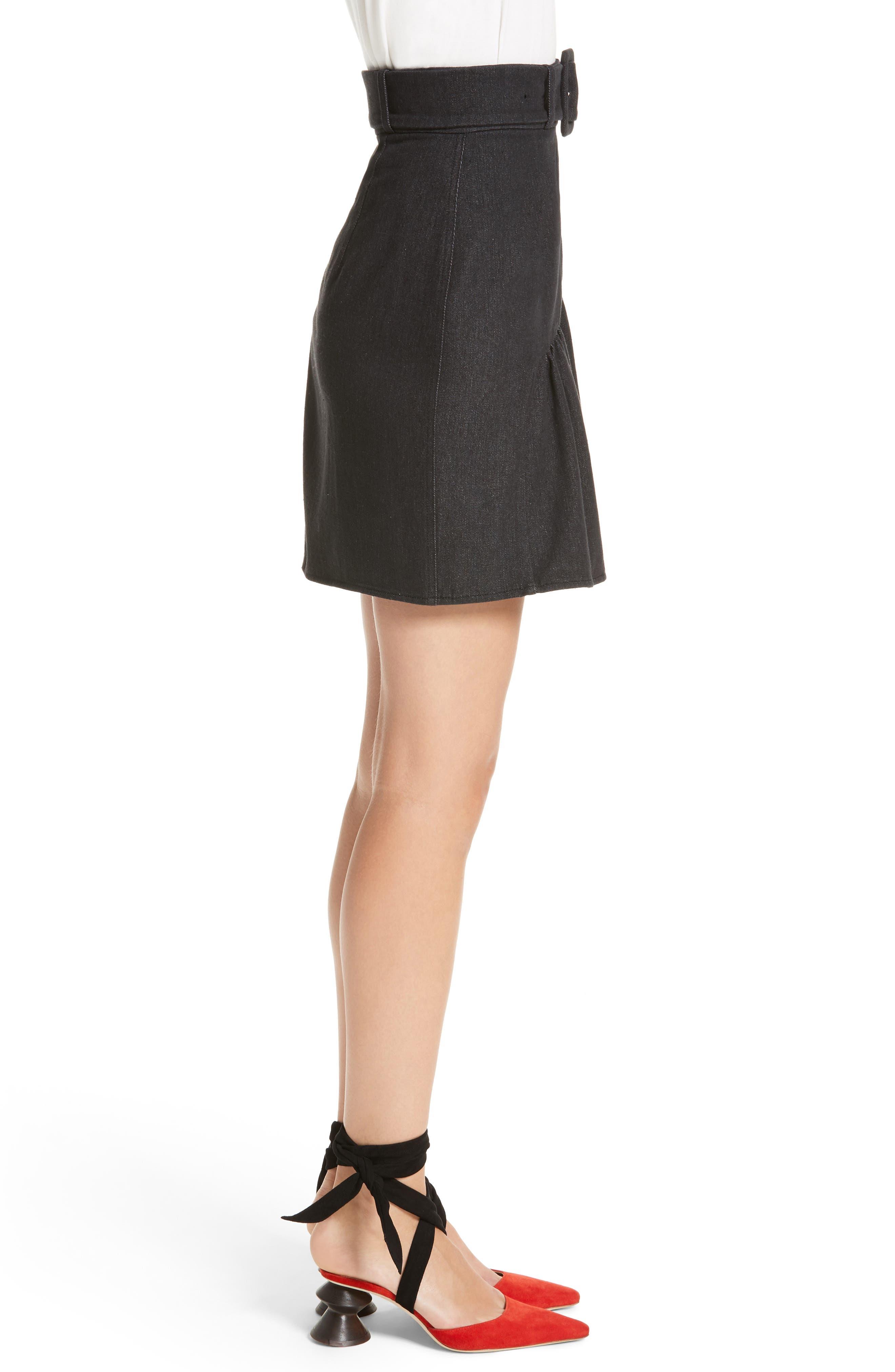Belted Ruffle Denim Miniskirt,                             Alternate thumbnail 3, color,                             Cotton Denim Black