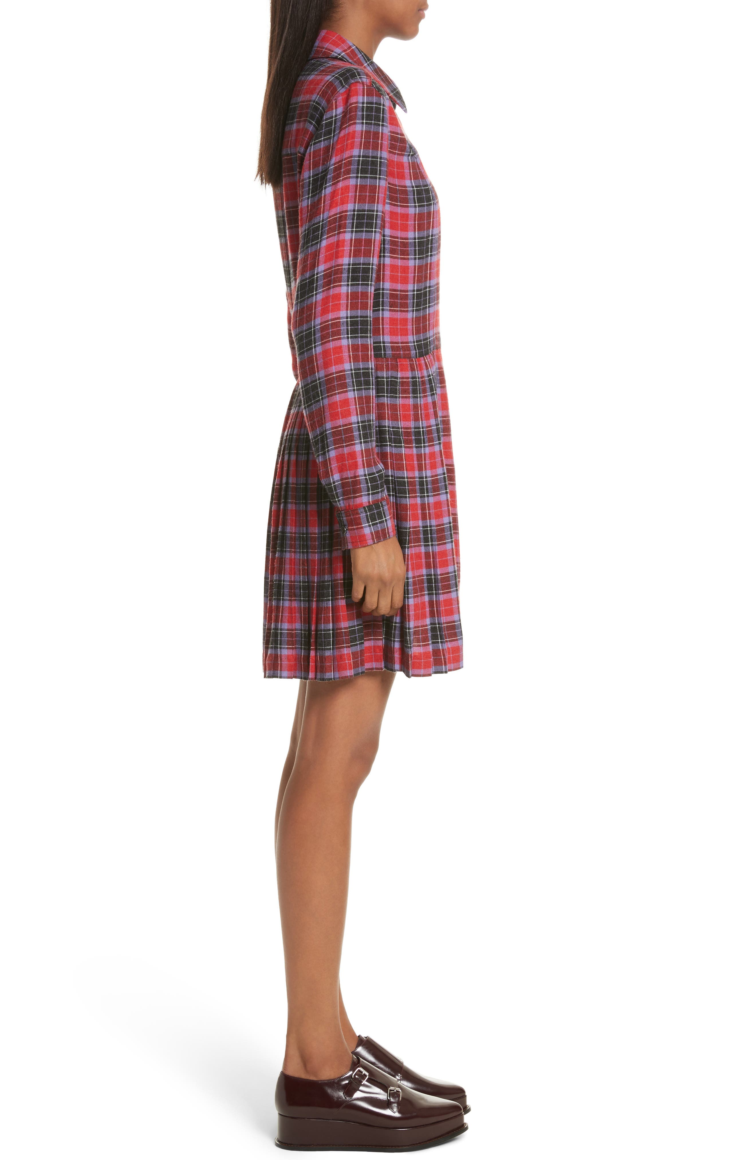 Flannel Kilt Dress,                             Alternate thumbnail 3, color,                             Jewel Red Multi