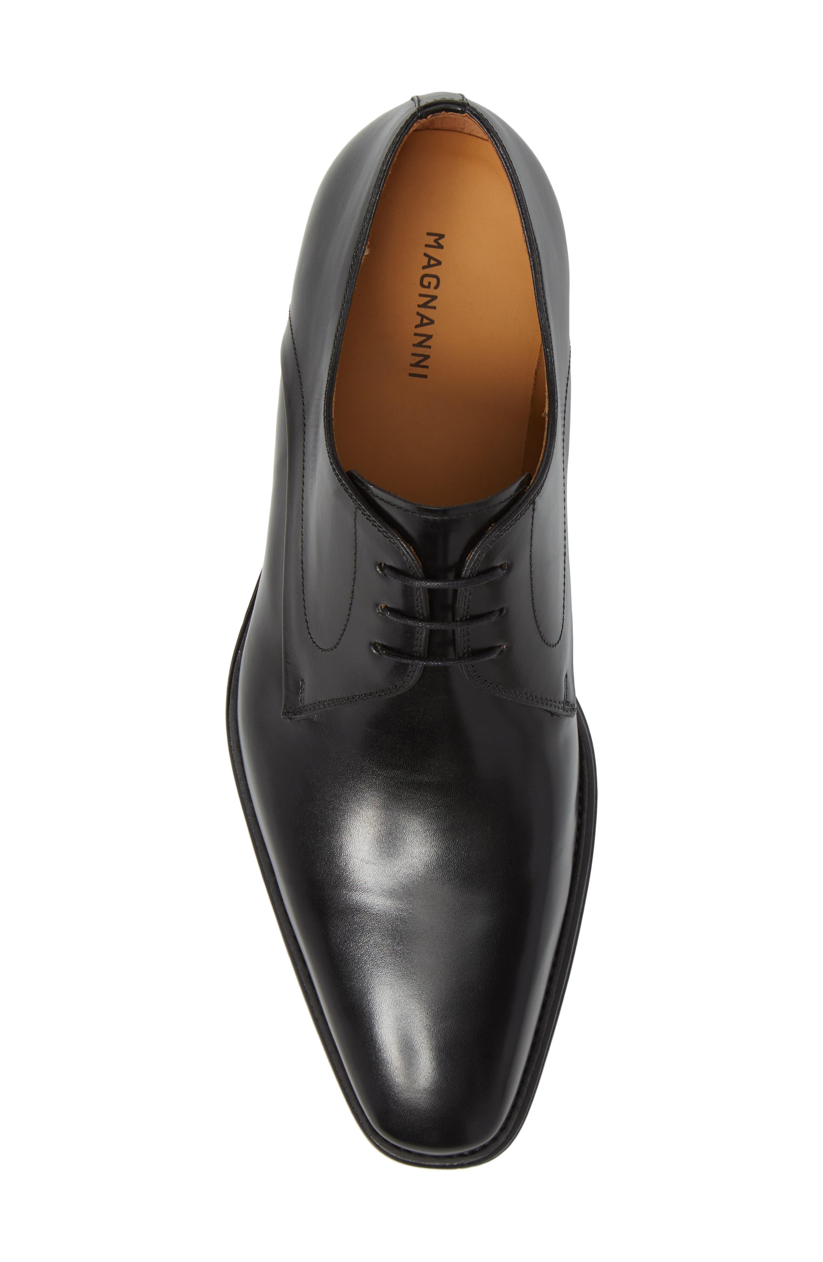 Mario Plain Toe Derby,                             Alternate thumbnail 5, color,                             Black Leather