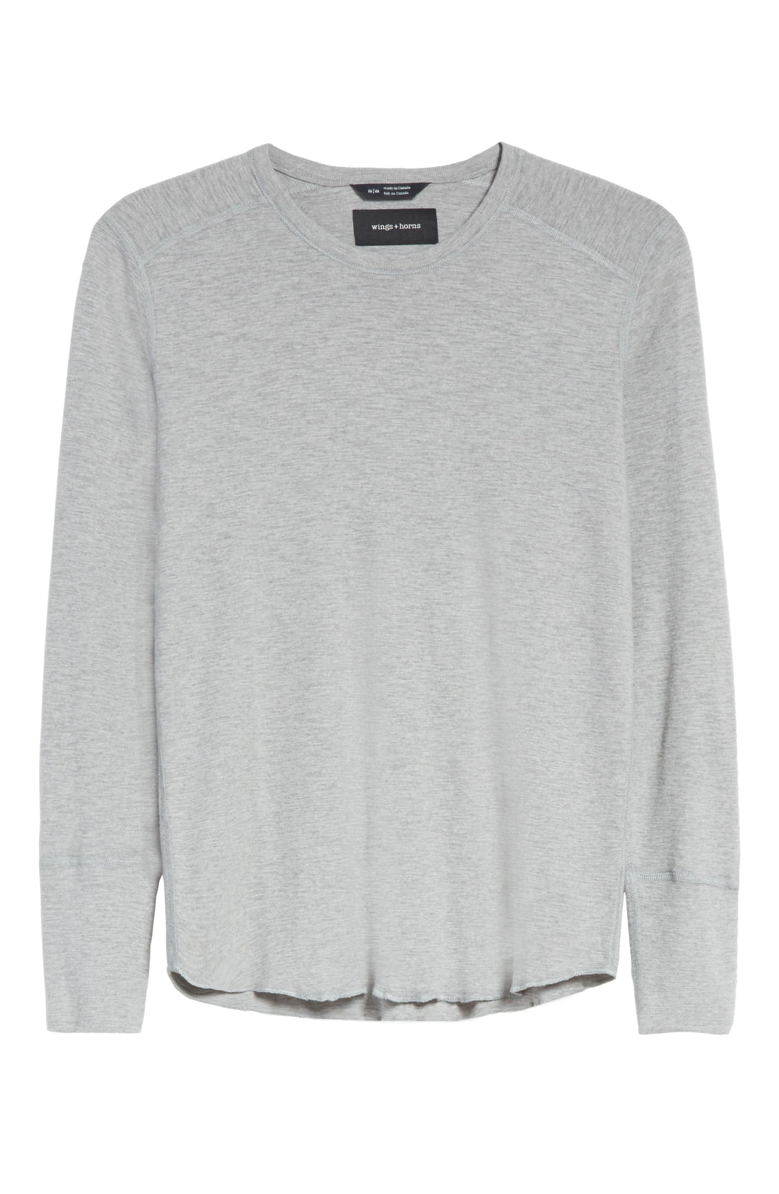 Slub Crewneck Sweater,                             Alternate thumbnail 6, color,                             Heather Grey
