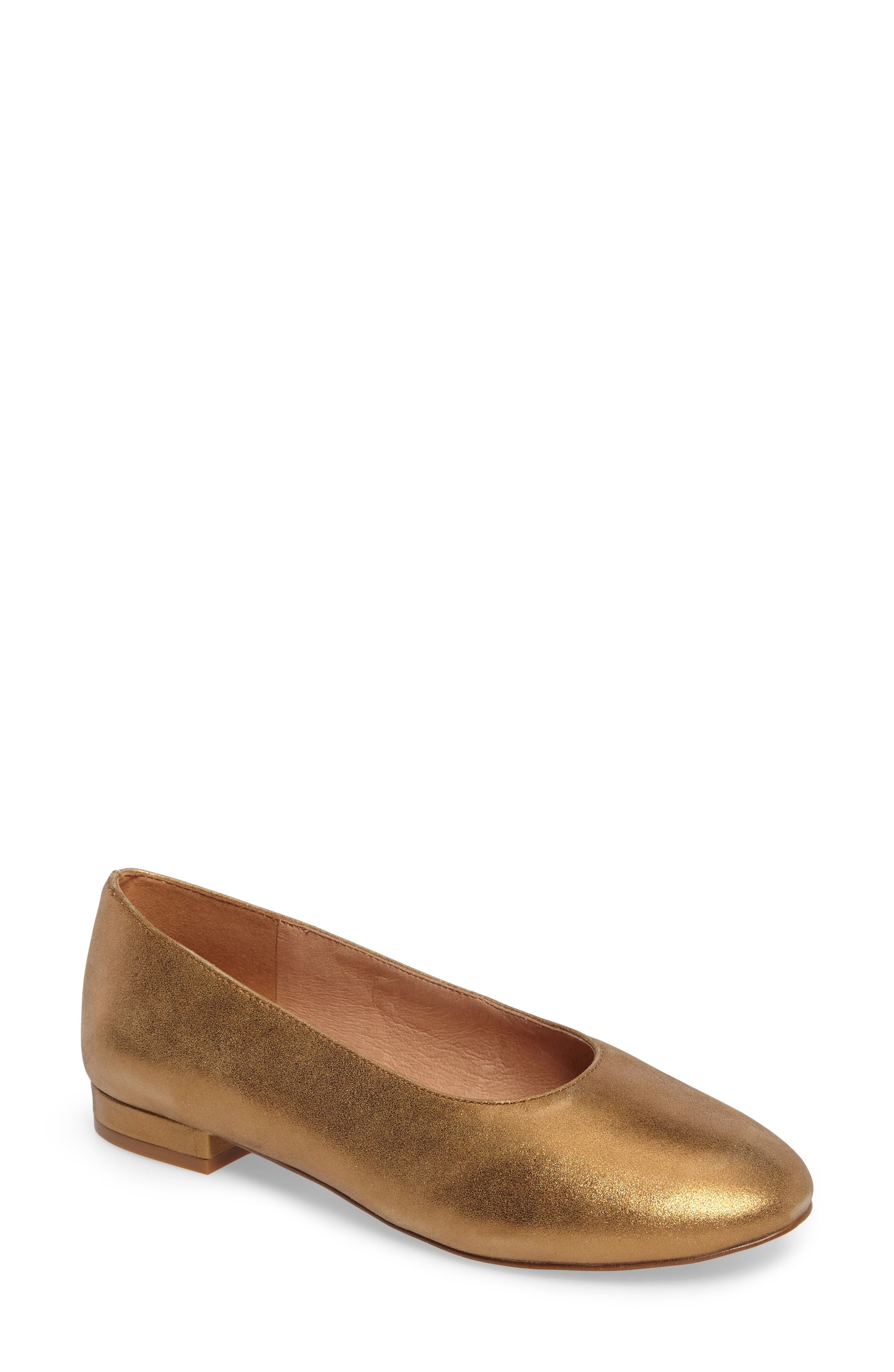 Leia Ballet Flat,                         Main,                         color, Metallic Gold Leather