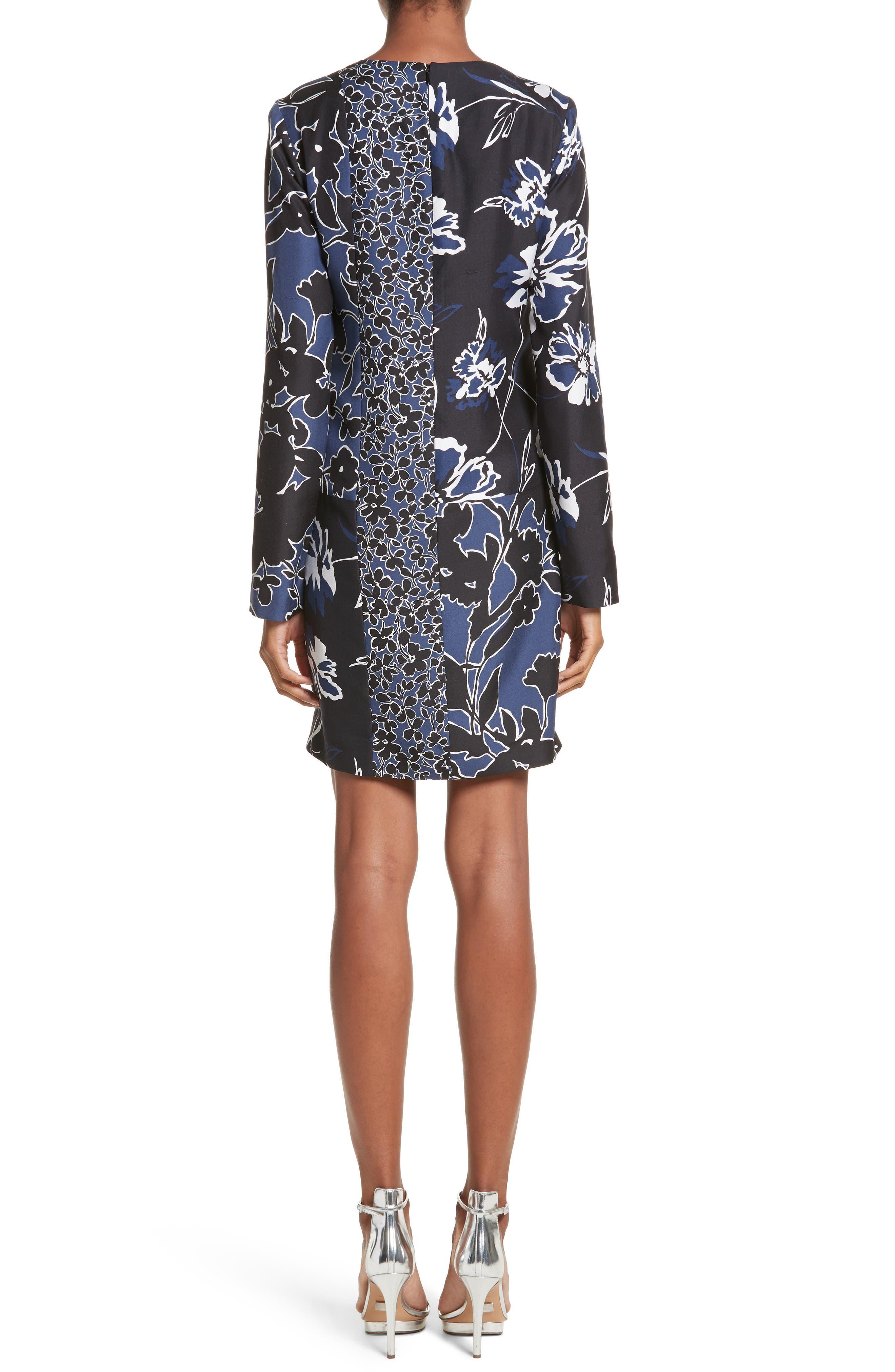 Floral Dupioni Silk Shift Dress,                             Alternate thumbnail 2, color,                             Sapphire