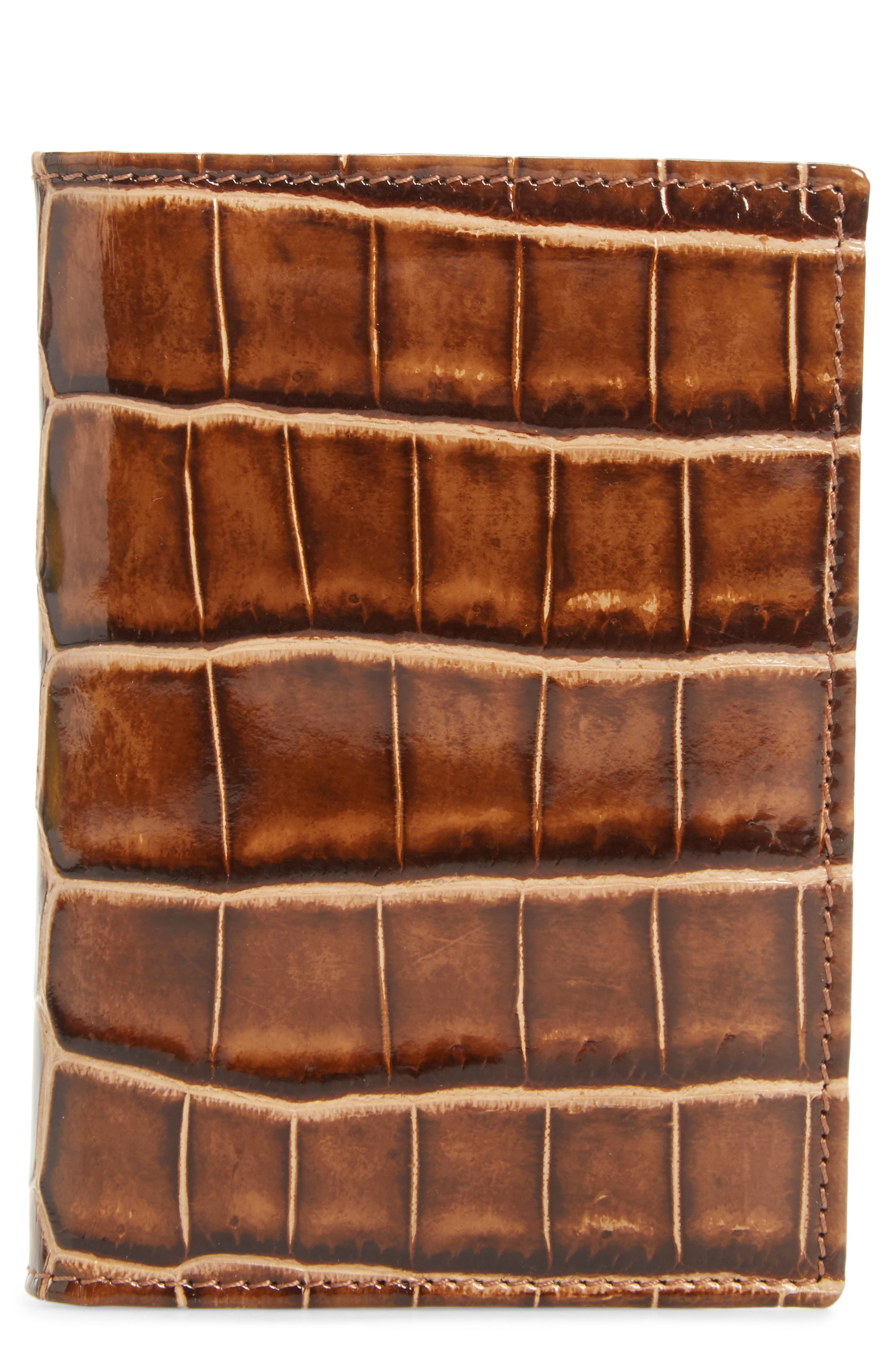 Alligator Leather Trifold Wallet,                             Main thumbnail 1, color,                             Honey/ Beige