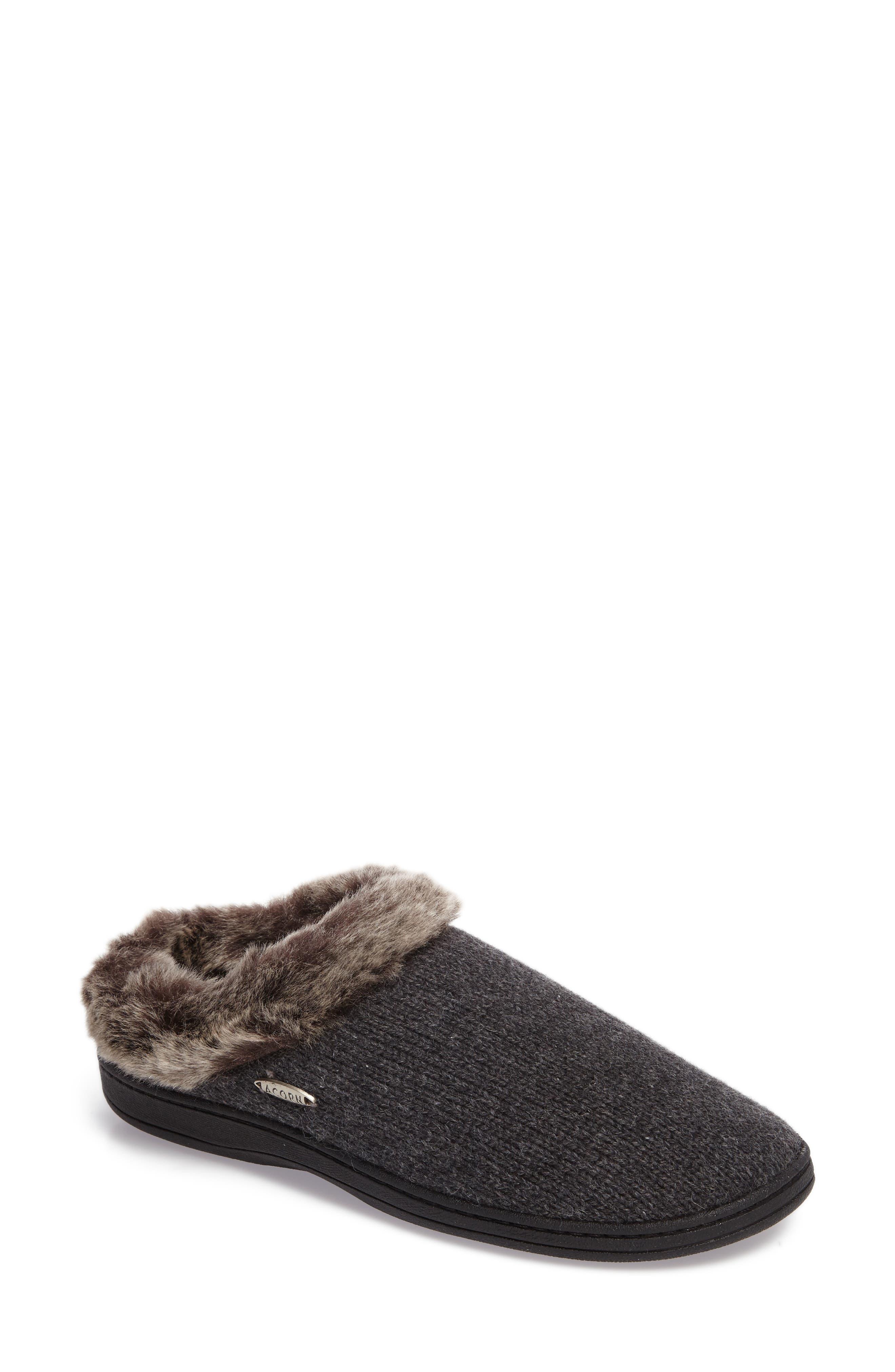 Chinchilla Faux Fur Slipper,                         Main,                         color, Dark Charcoal Heather