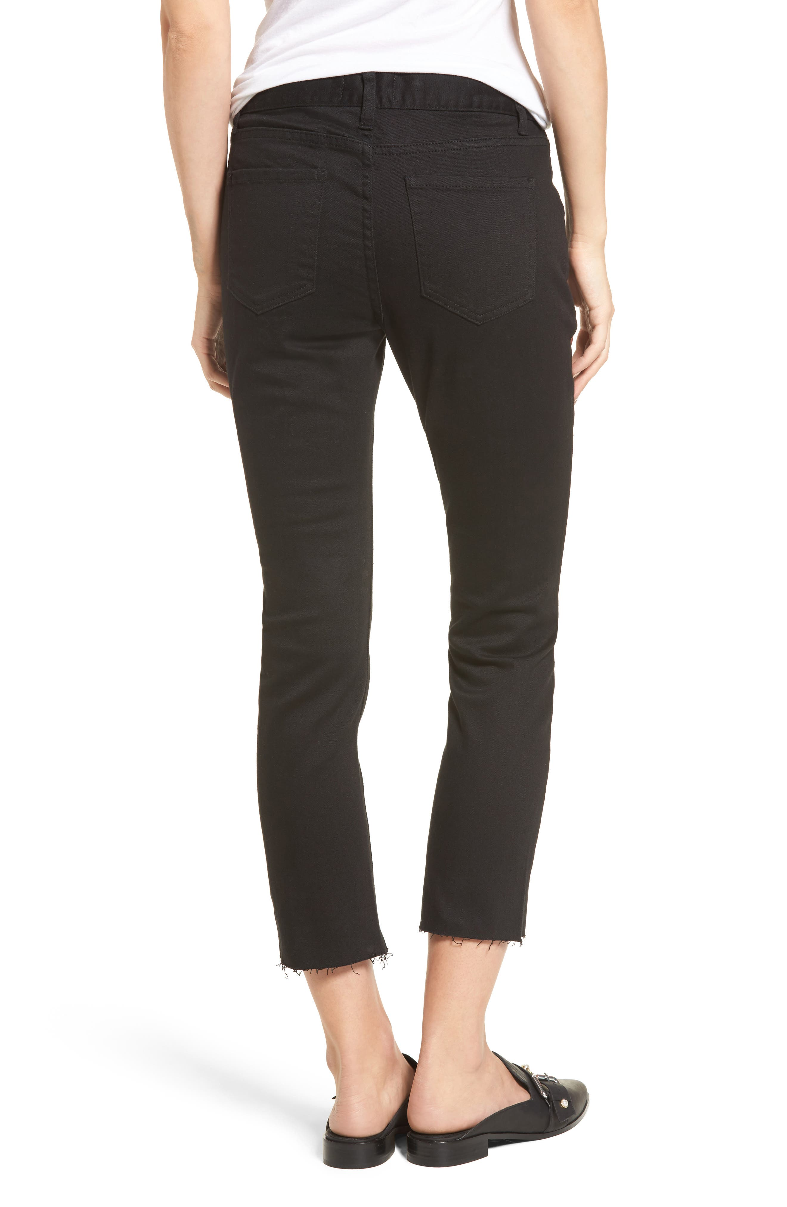 Hermosa Vented Crop Skinny Jeans,                             Alternate thumbnail 3, color,                             Black