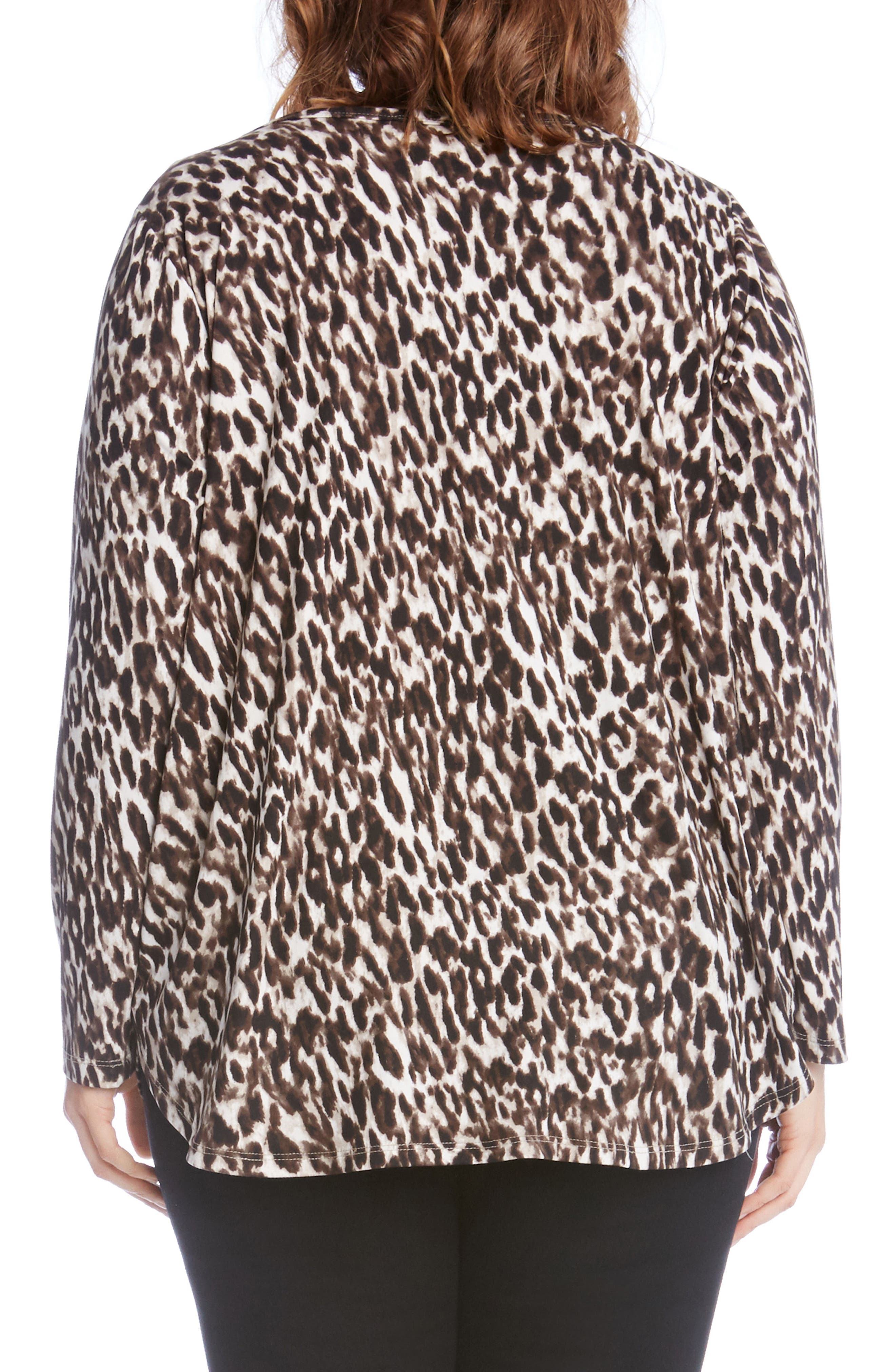 Alternate Image 3  - Karen Kane Print Knit Shirttail Top (Plus Size)