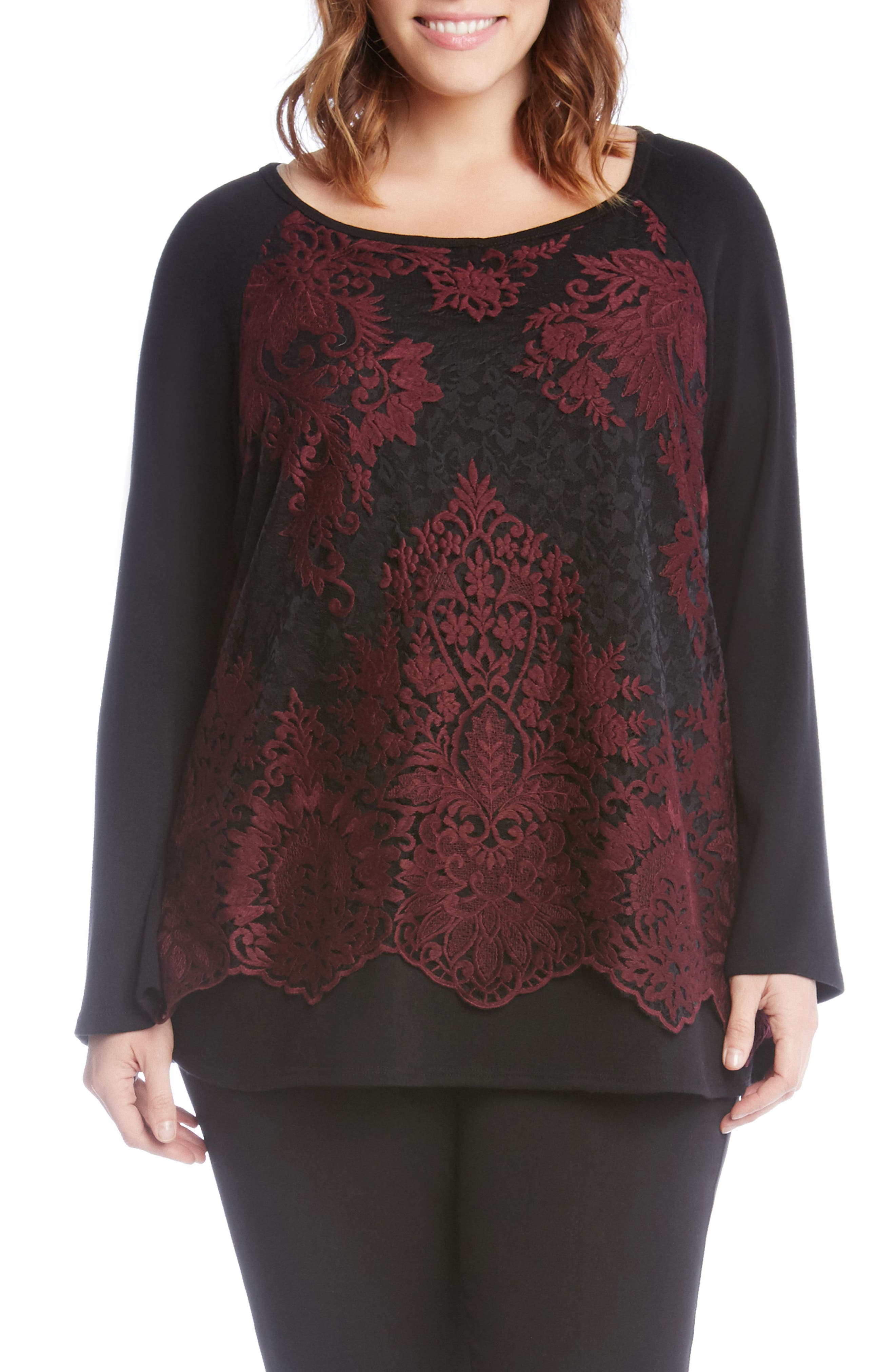 Lace Overlay Jersey Top,                         Main,                         color, Burgundy