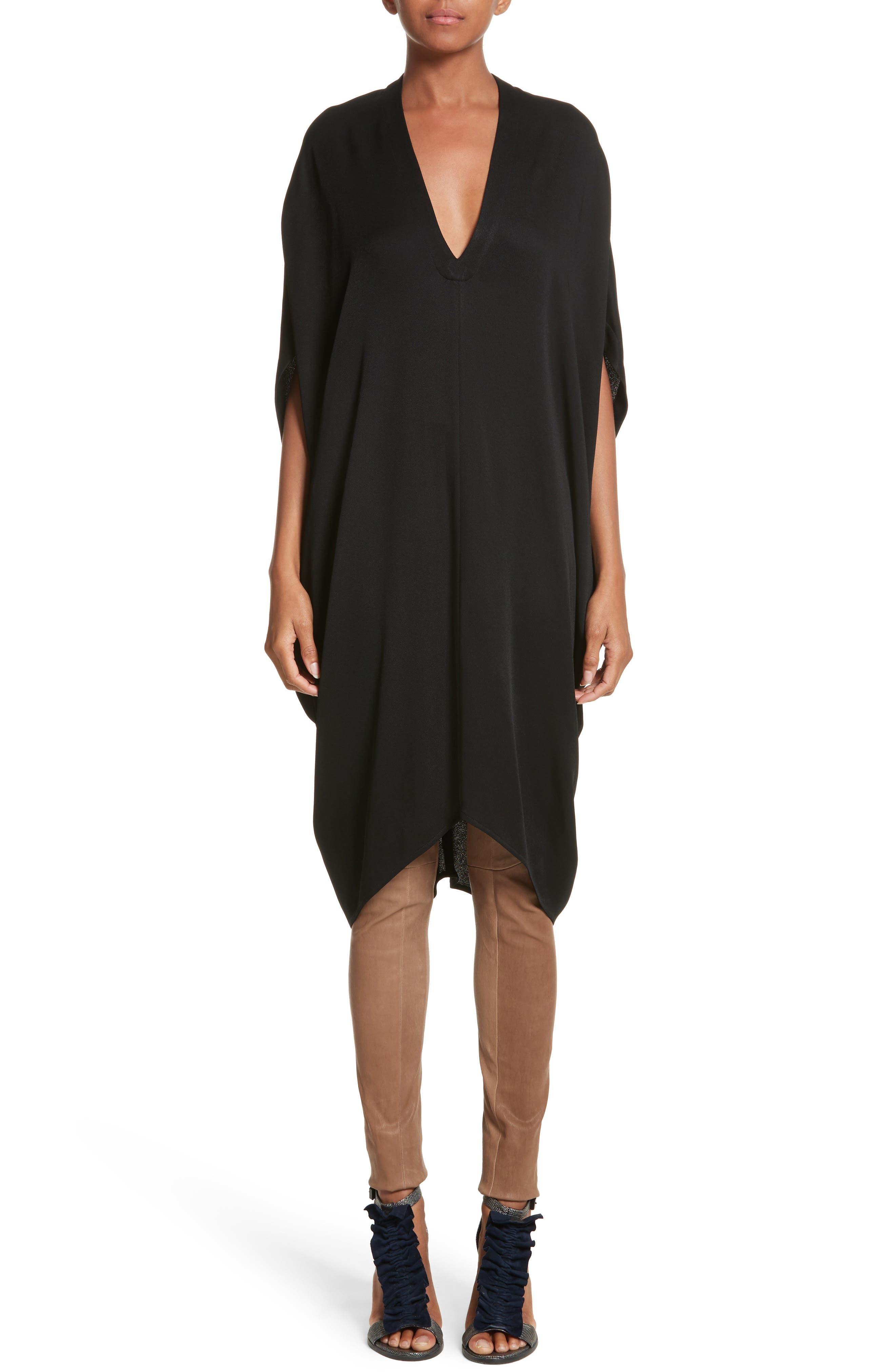 Eco Drape Dress,                             Alternate thumbnail 8, color,                             Black