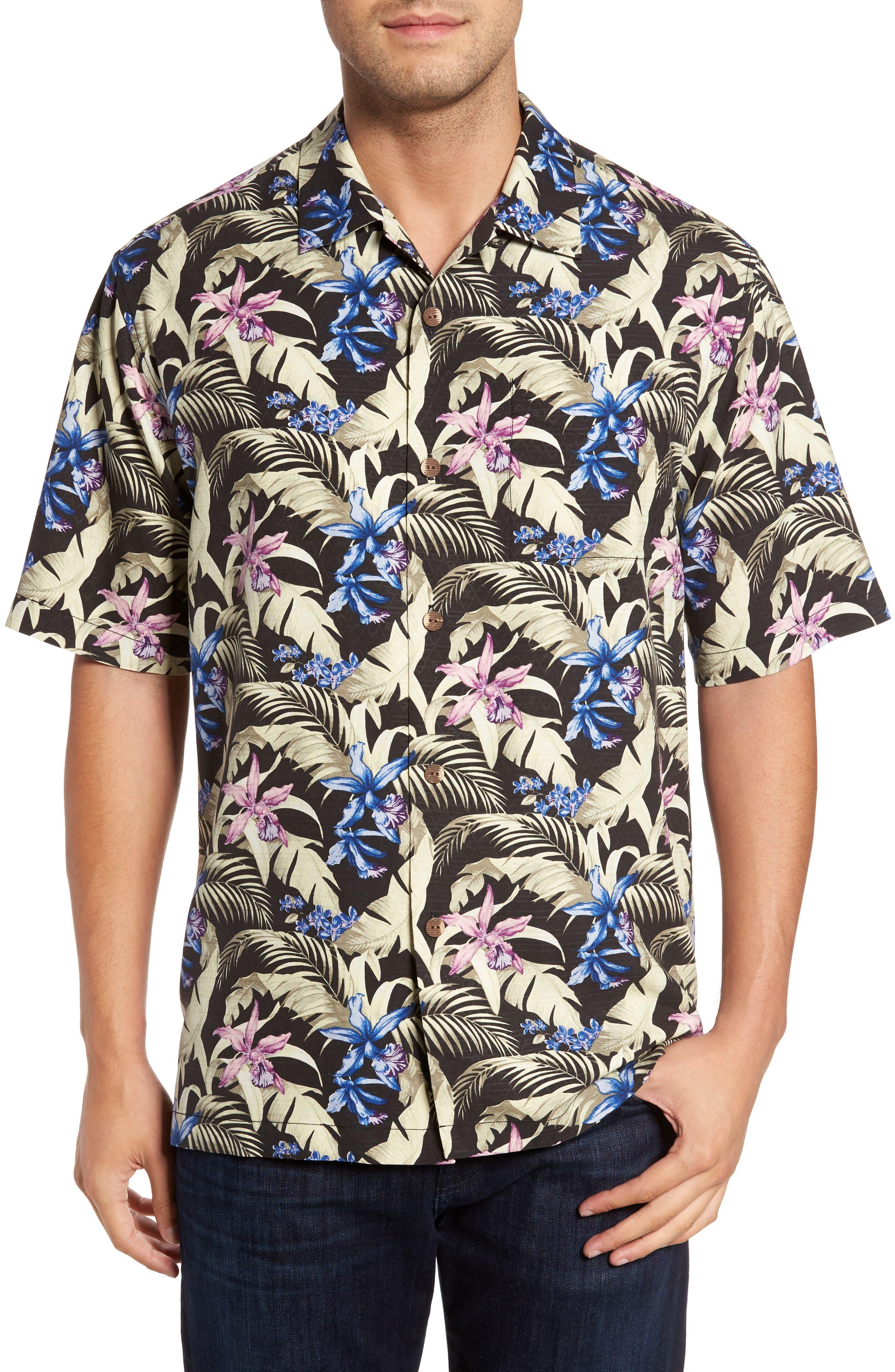Menara Garden Standard Fit Silk Camp Shirt,                         Main,                         color, Jet Black