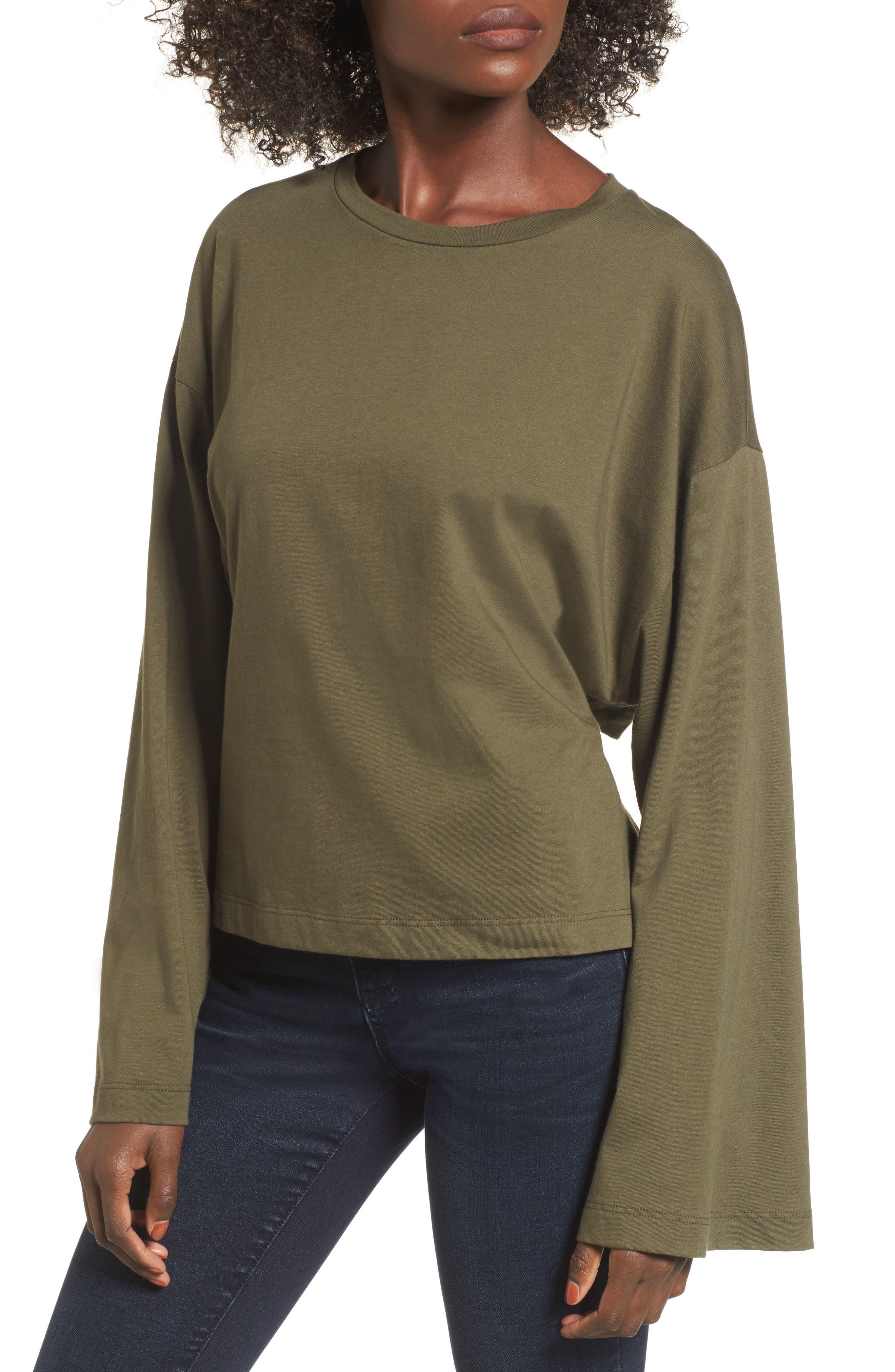 Alternate Image 1 Selected - Tie Back Bell Sleeve Top