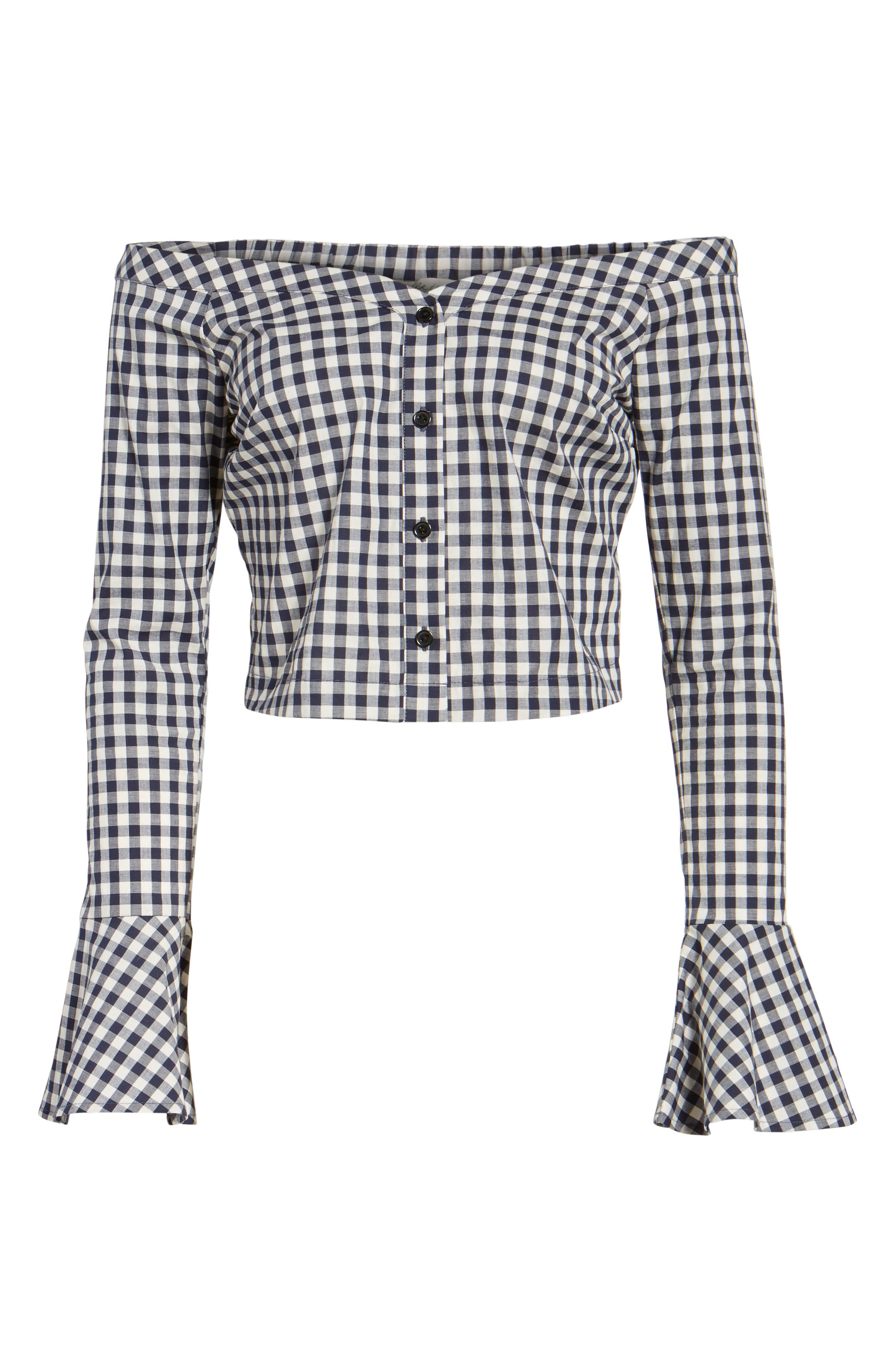 Bell Sleeve Off the Shoulder Crop Top,                             Alternate thumbnail 6, color,                             Navy/ White Gingham