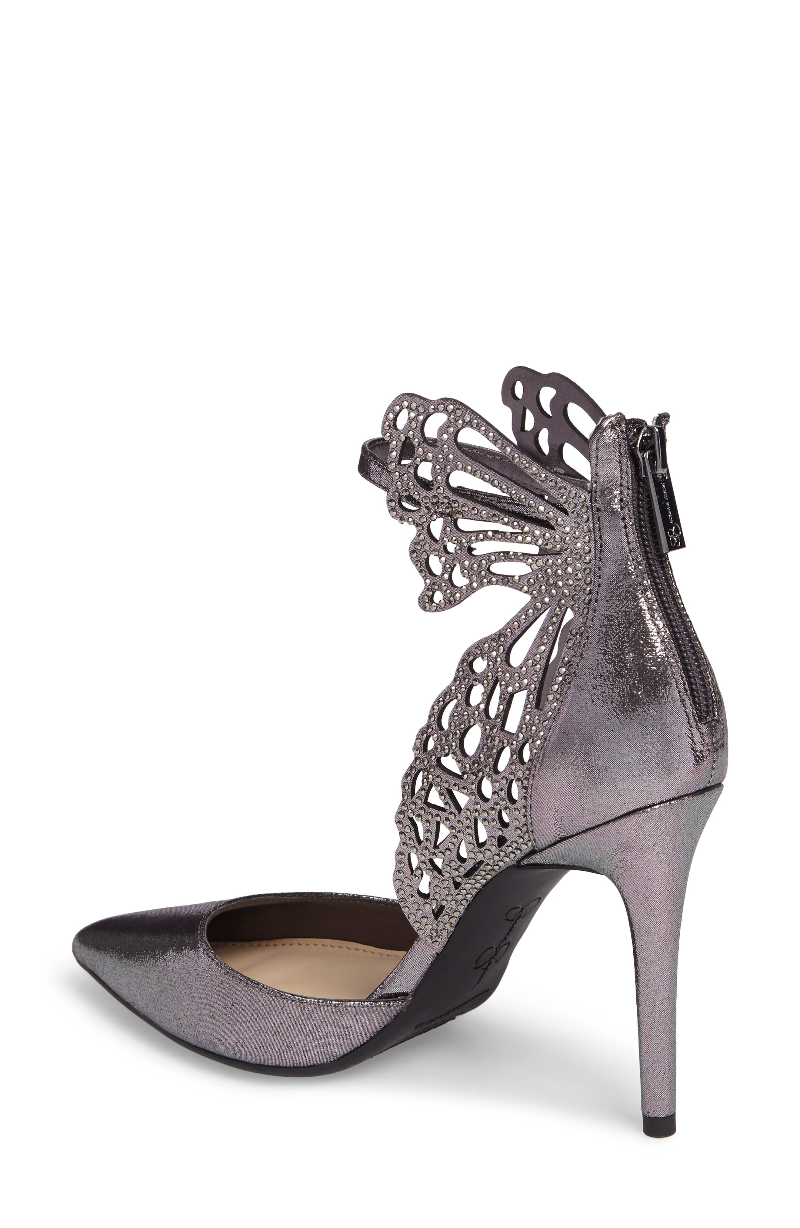 Leasia Butterfly Pump,                             Alternate thumbnail 2, color,                             Pewter Satin