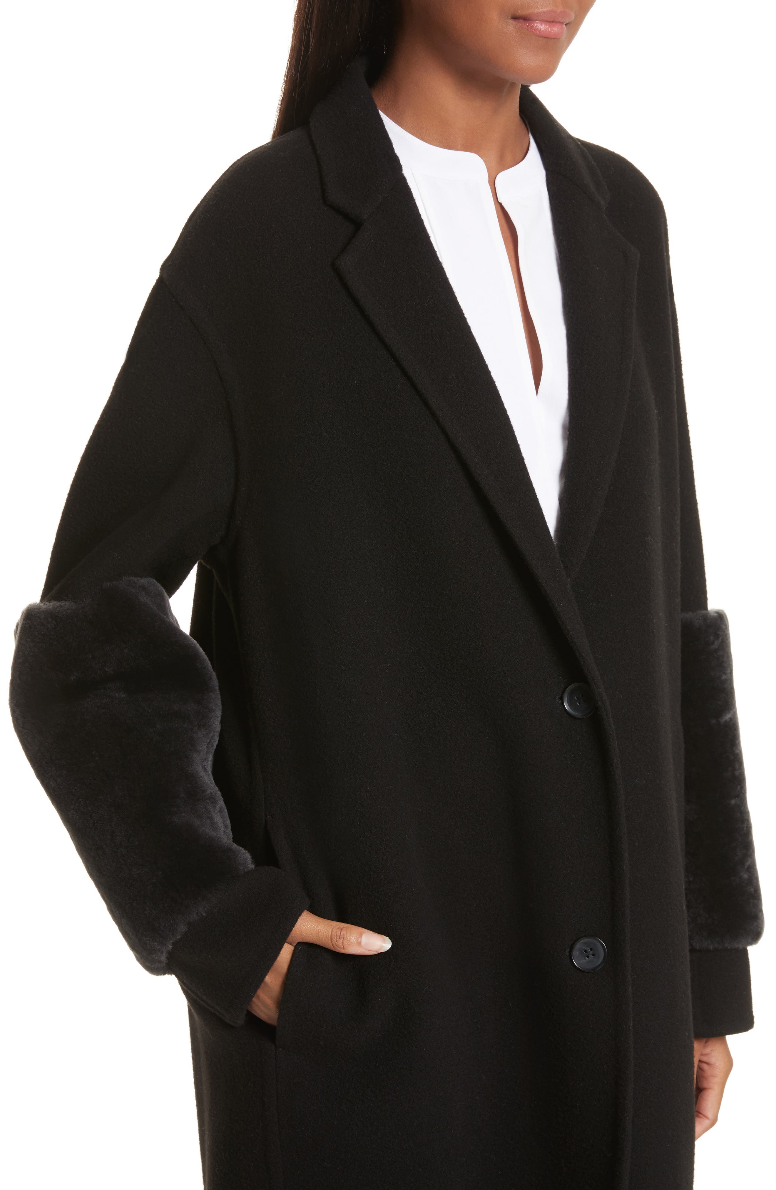 Genuine Shearling Trim Long Coat,                             Alternate thumbnail 4, color,                             Black