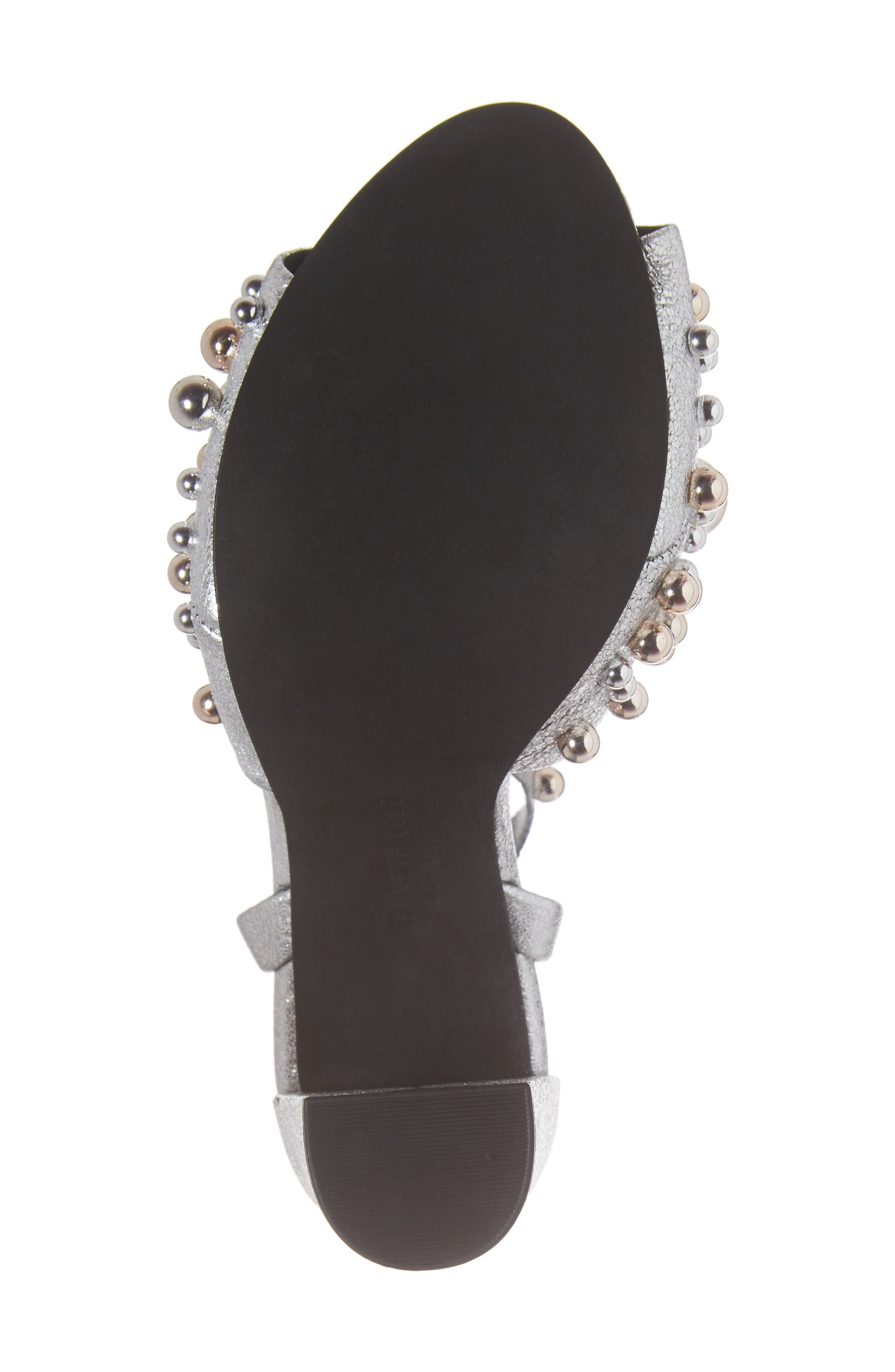 Dierdre Embellished Sandal,                             Alternate thumbnail 6, color,                             Nickel Leather