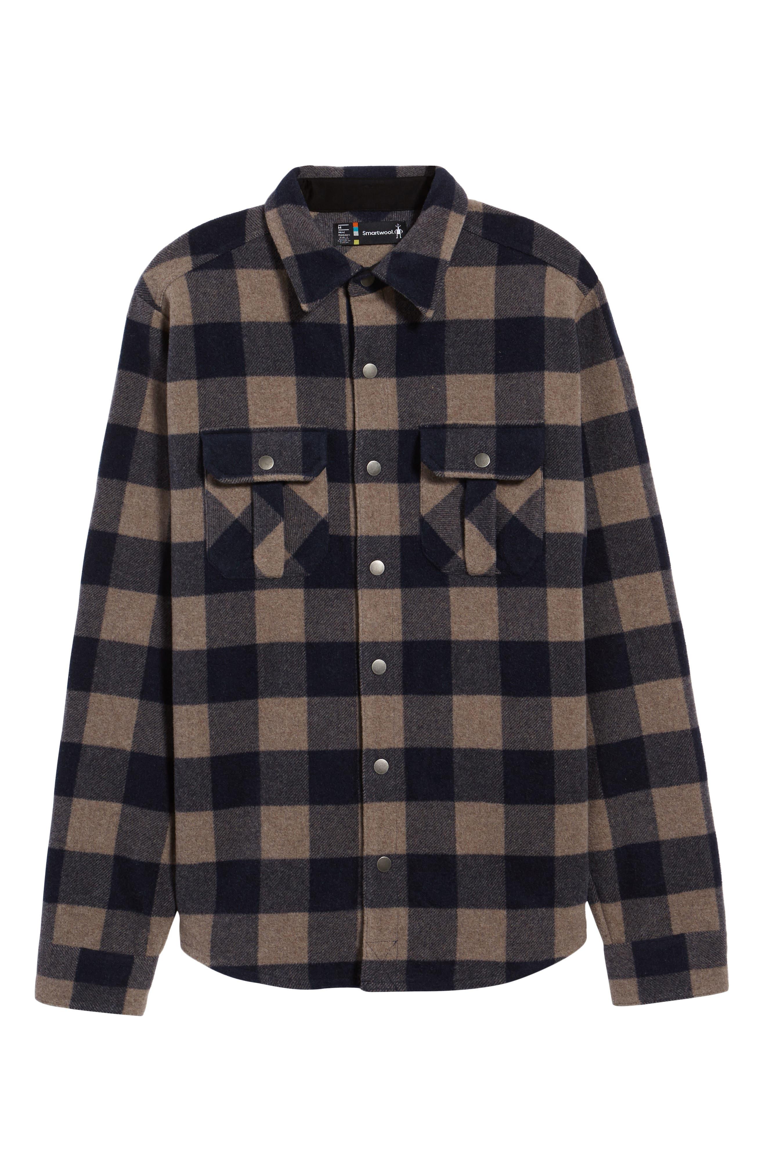 Anchor Line Flannel Shirt Jacket,                             Alternate thumbnail 6, color,                             Navy