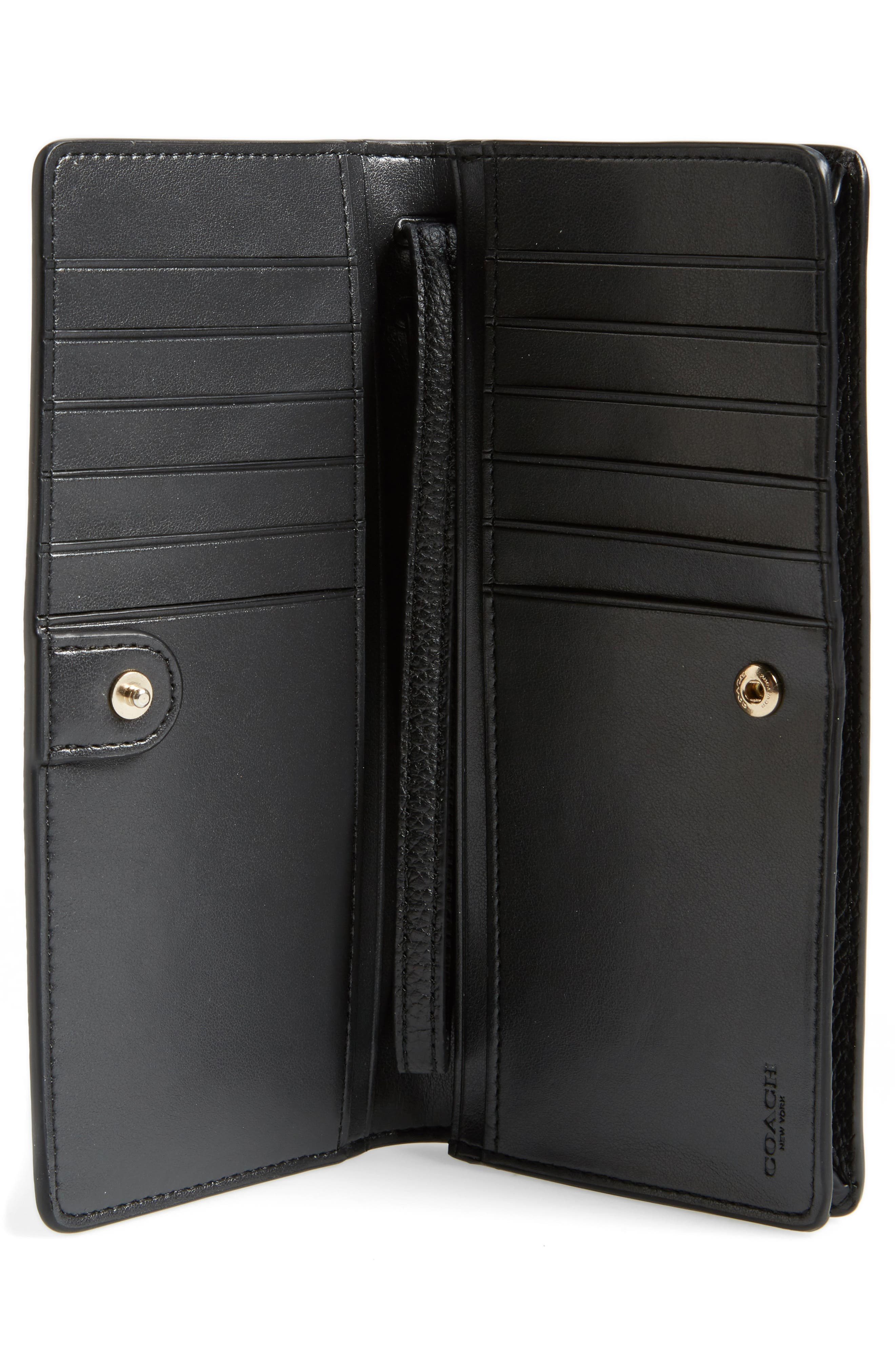 Slim Calfskin Leather Wristlet,                             Alternate thumbnail 2, color,                             Black