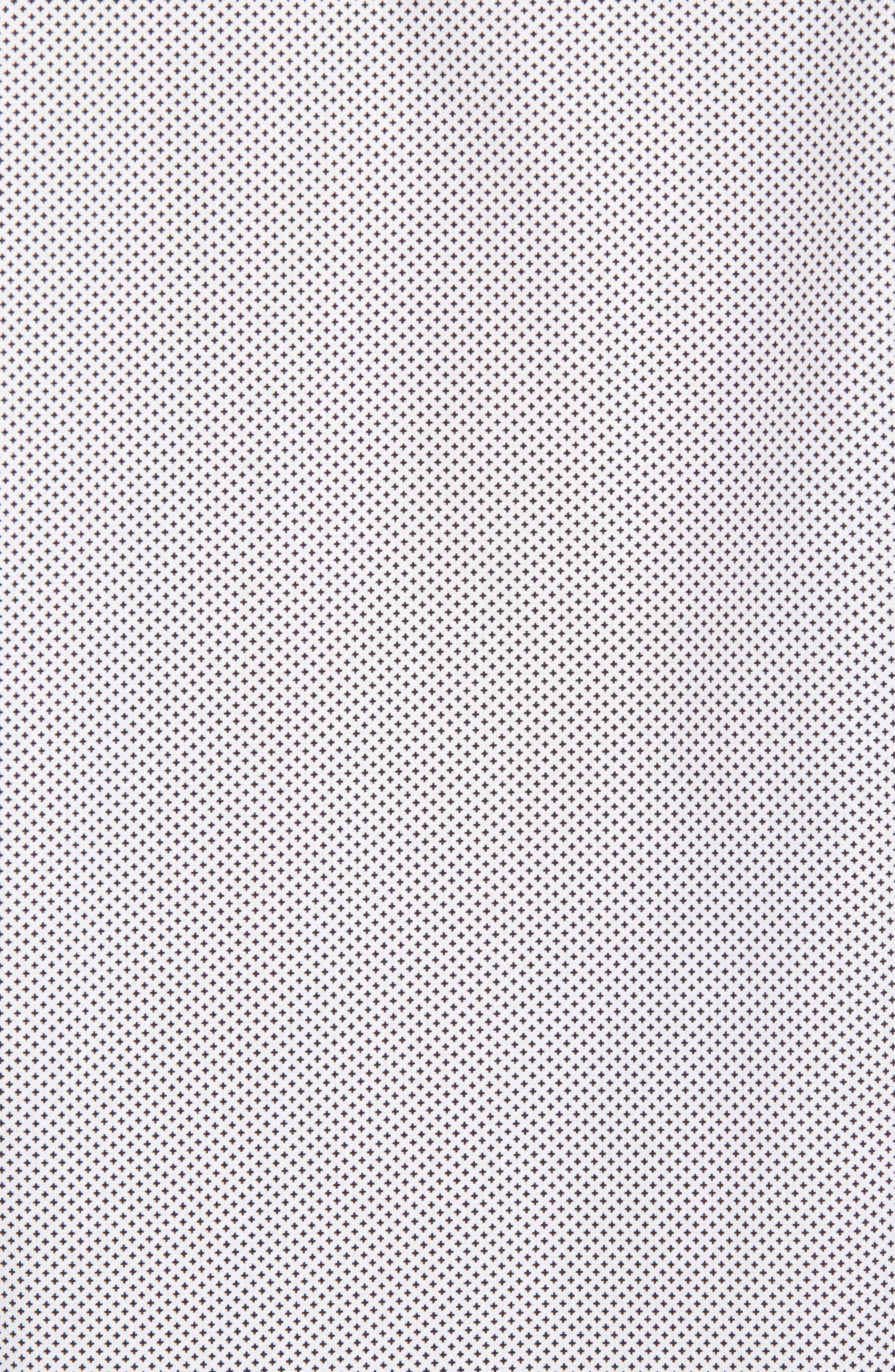 Regular Fit Non-Iron Print Sport Shirt,                             Alternate thumbnail 5, color,                             Black White Mini Cross