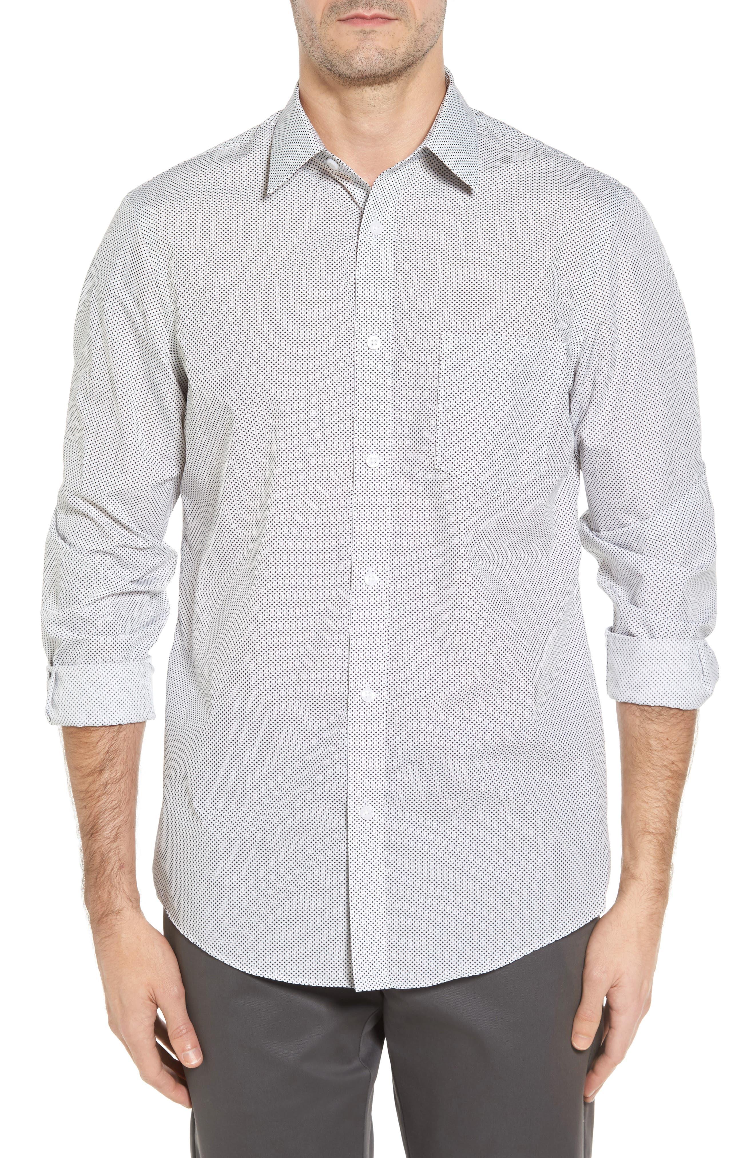 Regular Fit Non-Iron Print Sport Shirt,                         Main,                         color, Black White Mini Cross