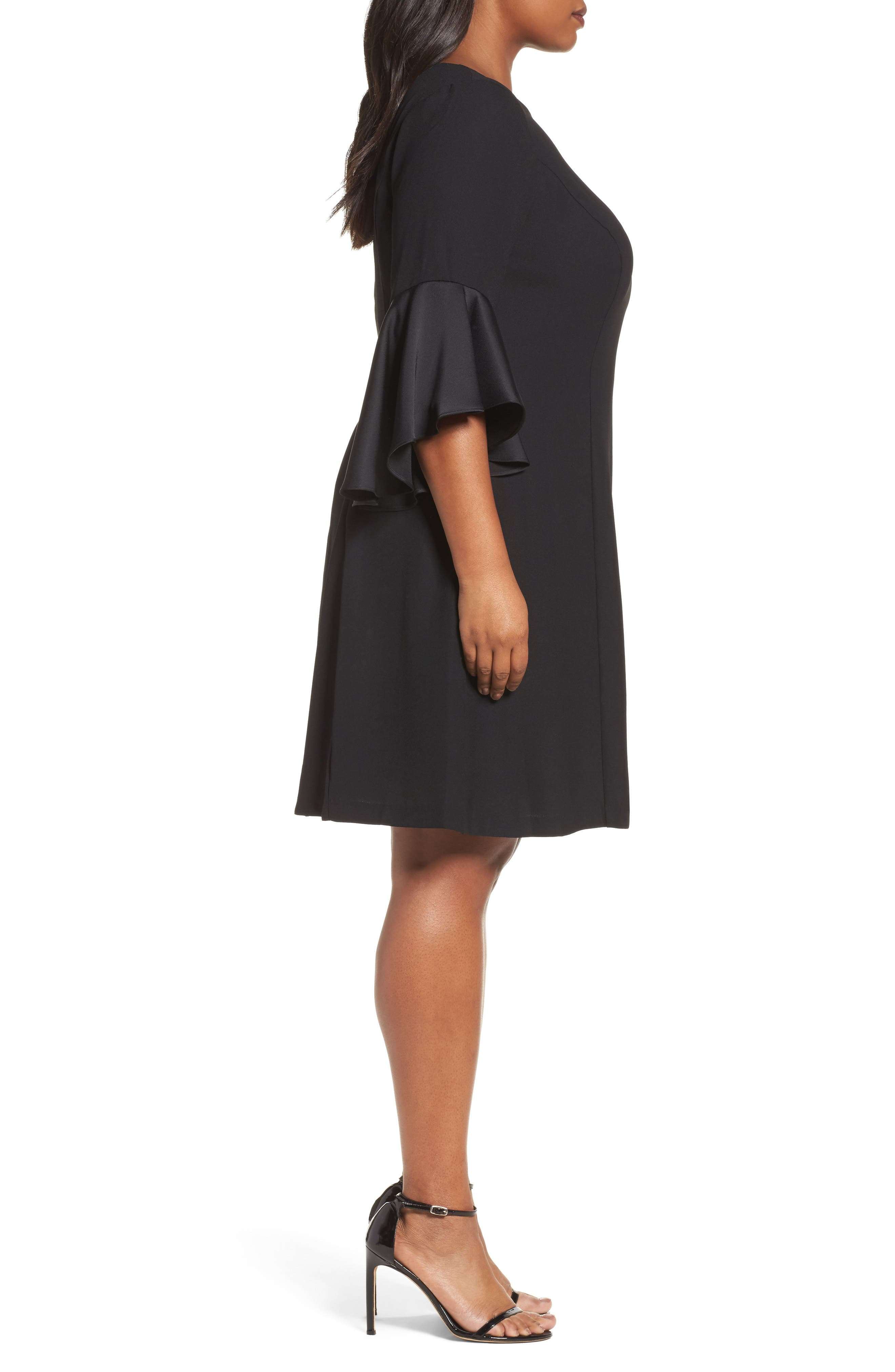 Bell Sleeve A-Line Dress,                             Alternate thumbnail 3, color,                             Black