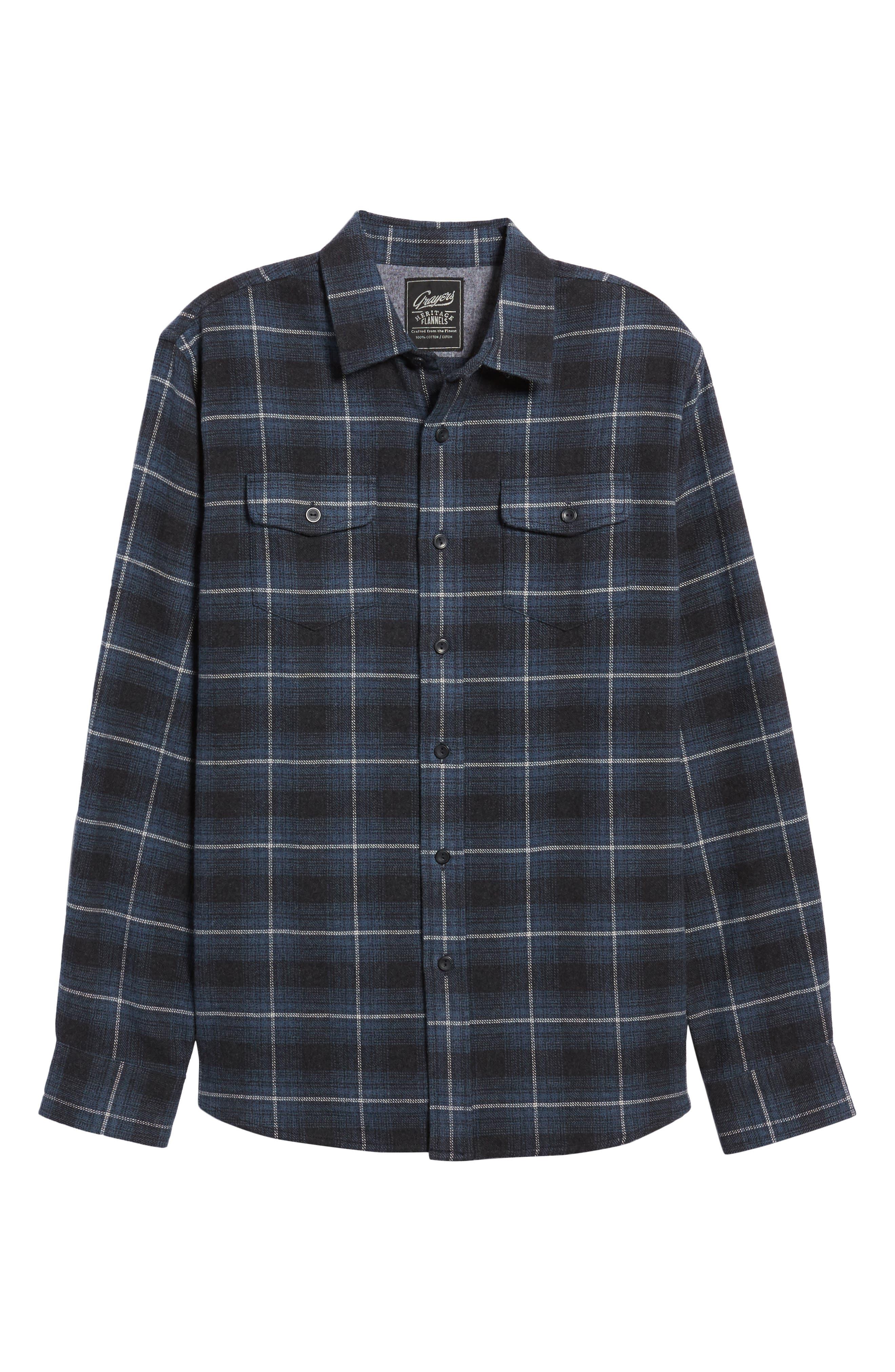 Clarke Heritage Flannel Shirt,                             Alternate thumbnail 6, color,                             Blue Charcoal