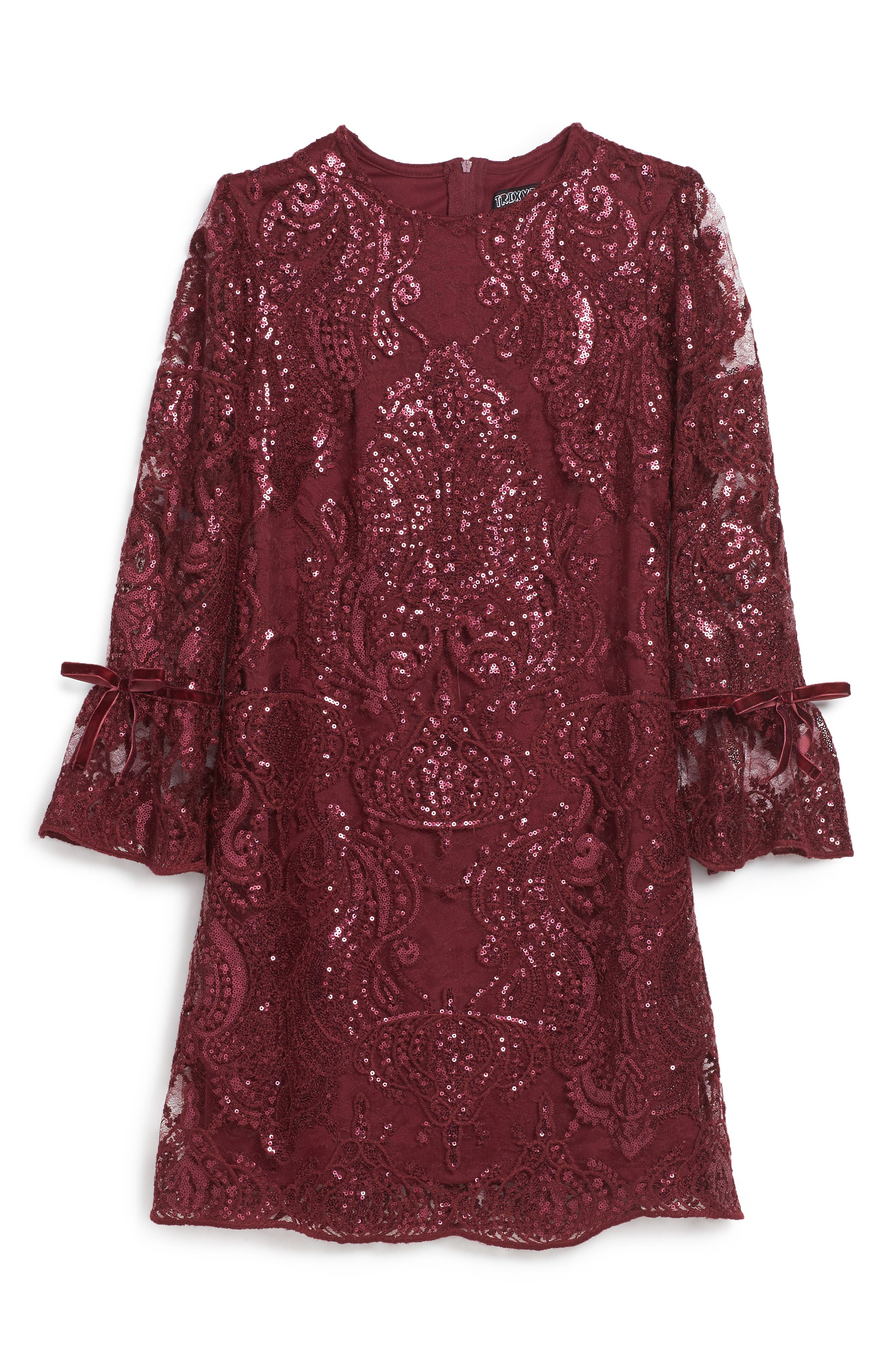 Scalloped Sequin Embellished Shift Dress,                             Main thumbnail 1, color,                             Burgundy