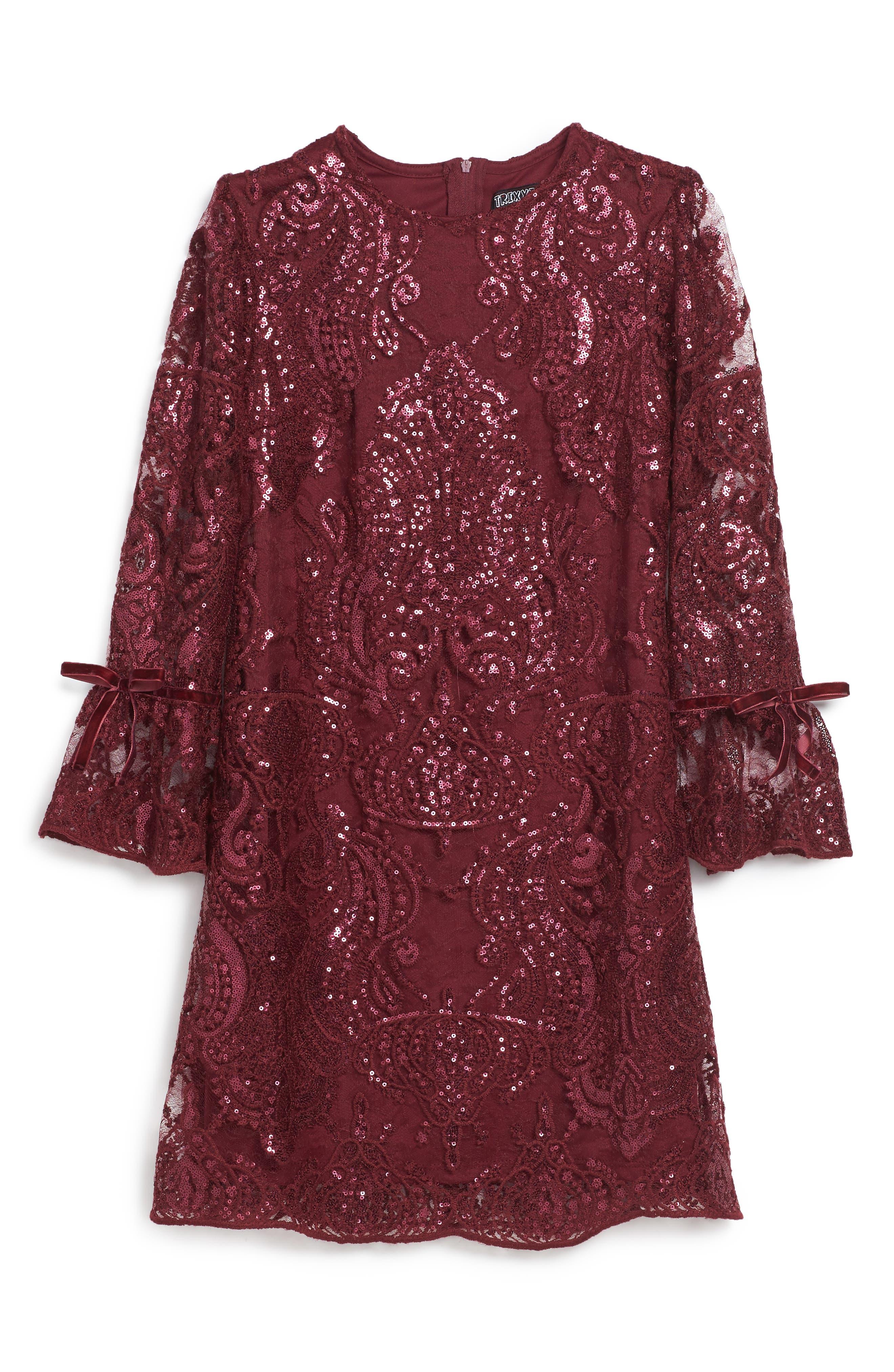 Alternate Image 1 Selected - Trixxi Scalloped Sequin Embellished Shift Dress (Big Girls)