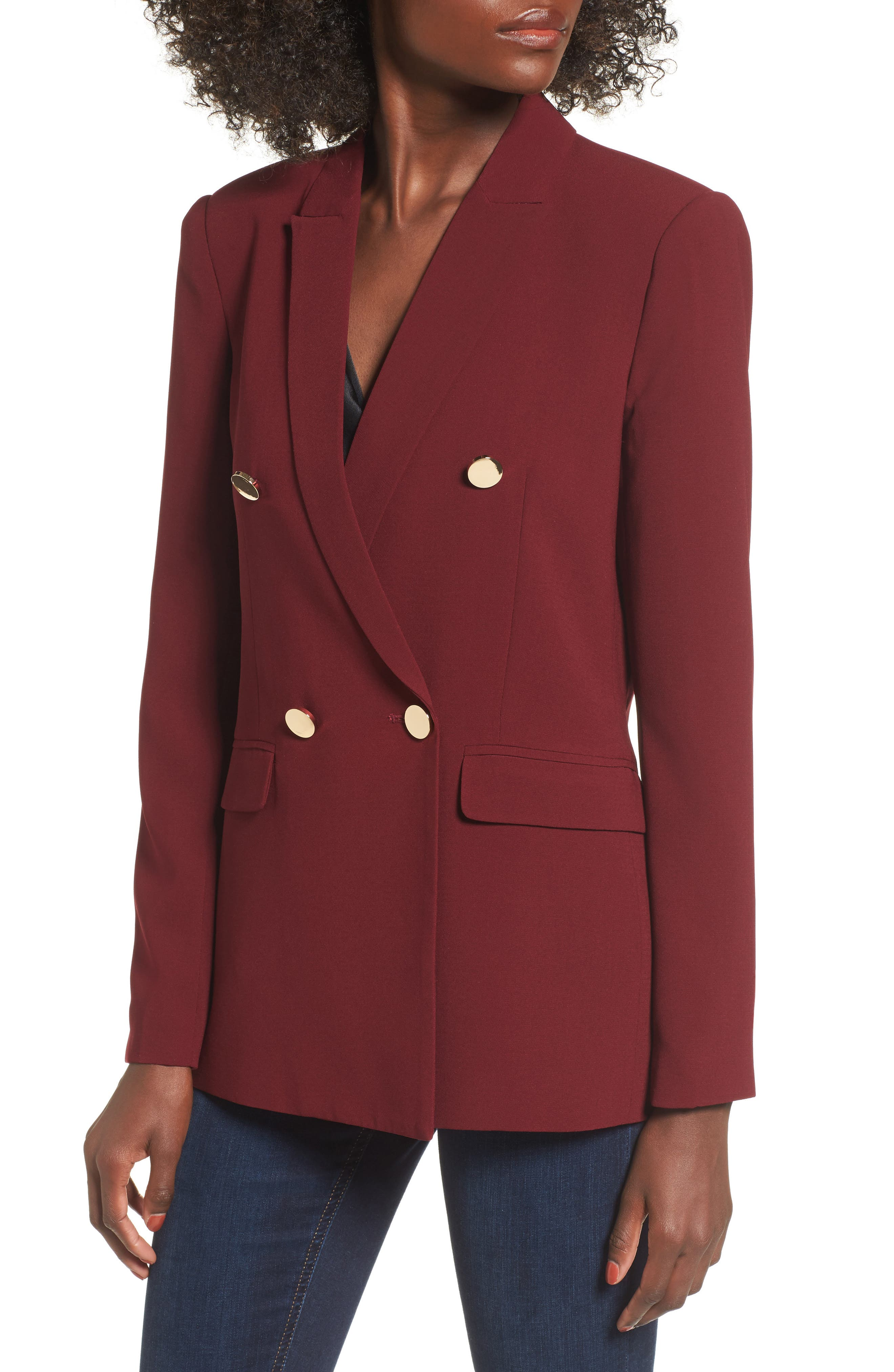 Oversize Double Breasted Blazer,                             Main thumbnail 1, color,                             Burgundy