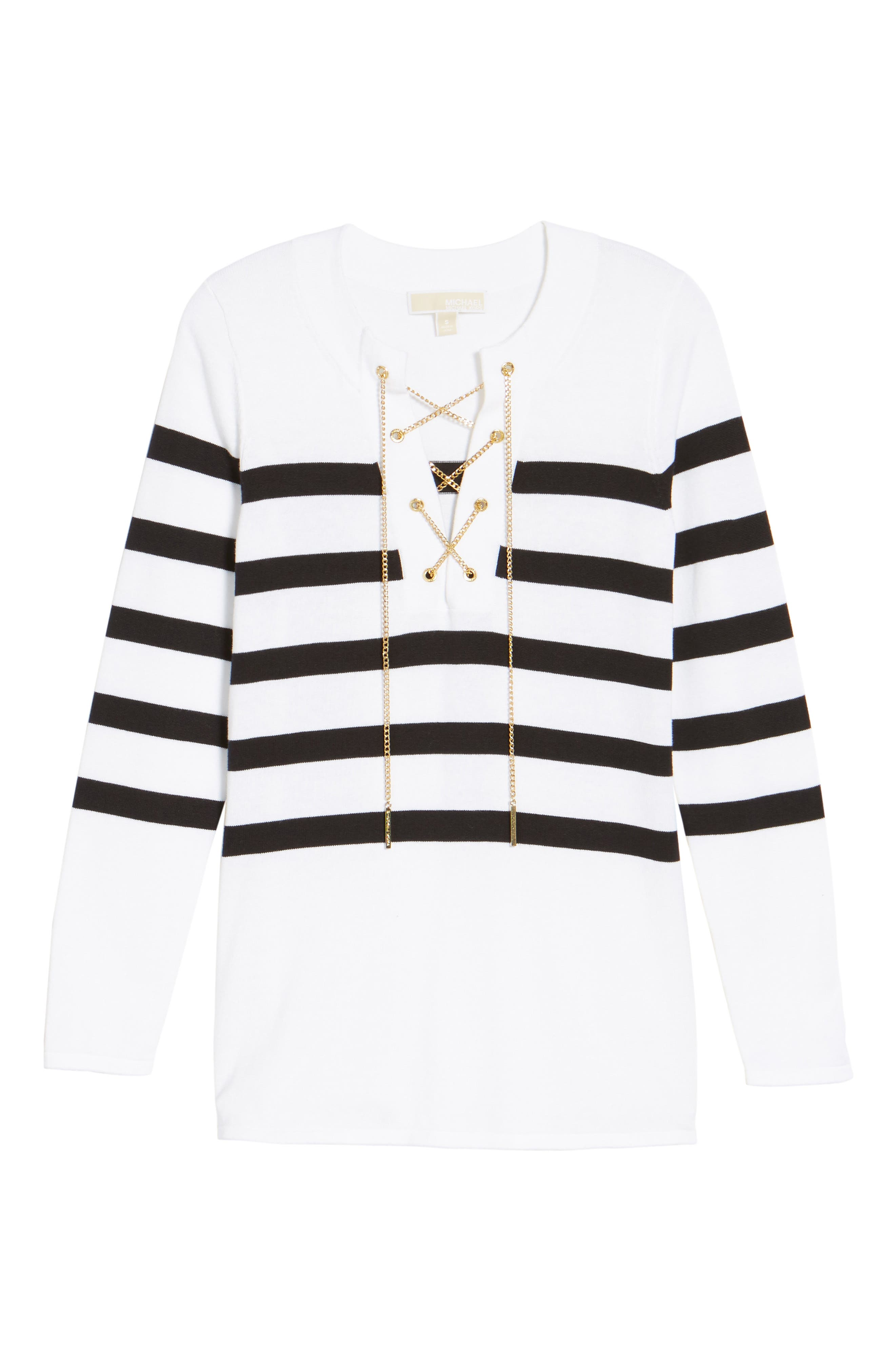 Laced Chain Tunic,                             Alternate thumbnail 6, color,                             White/ Black
