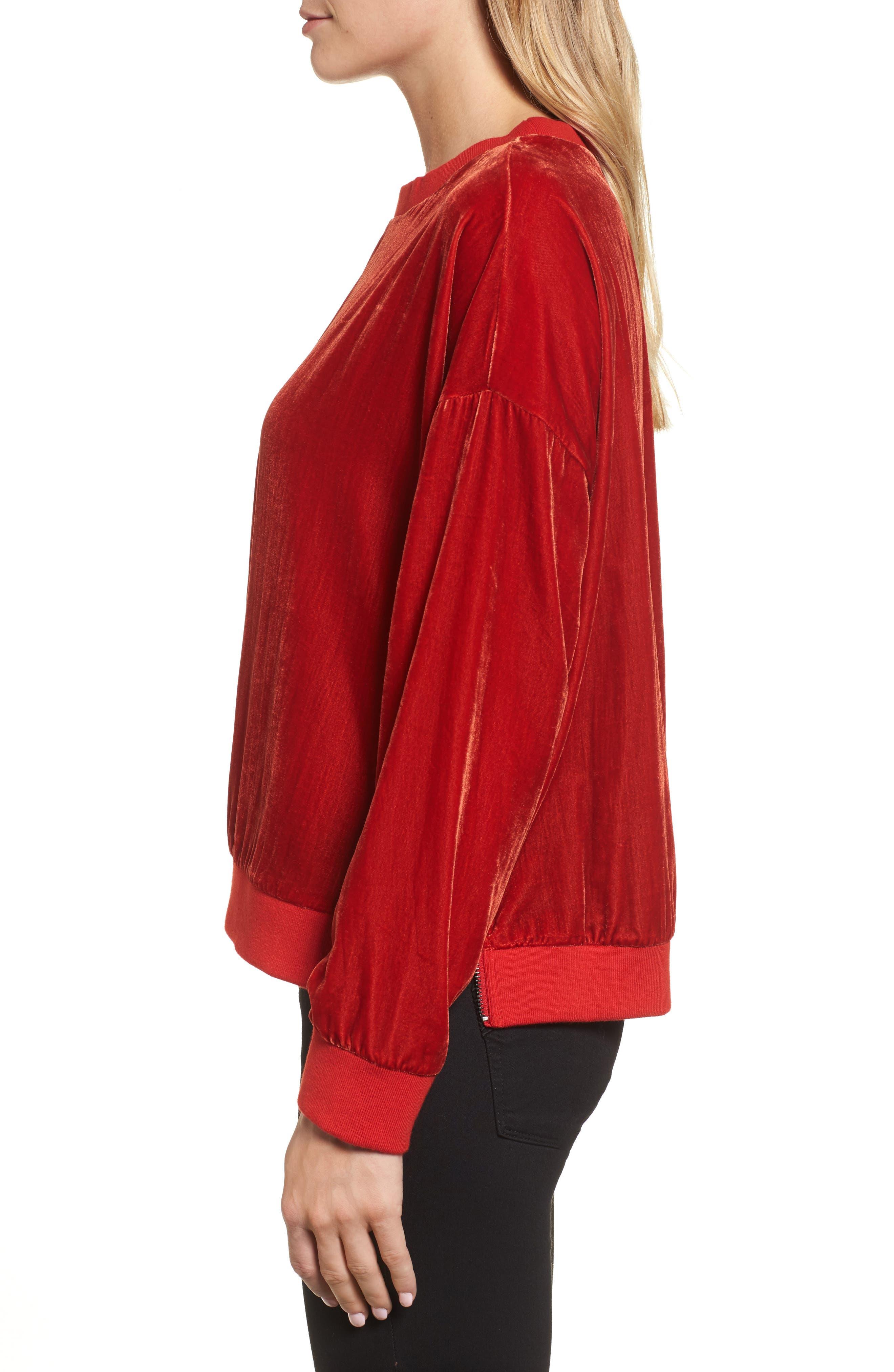 Alternate Image 3  - Kenneth Cole New York Zipper Velvet Sweatshirt