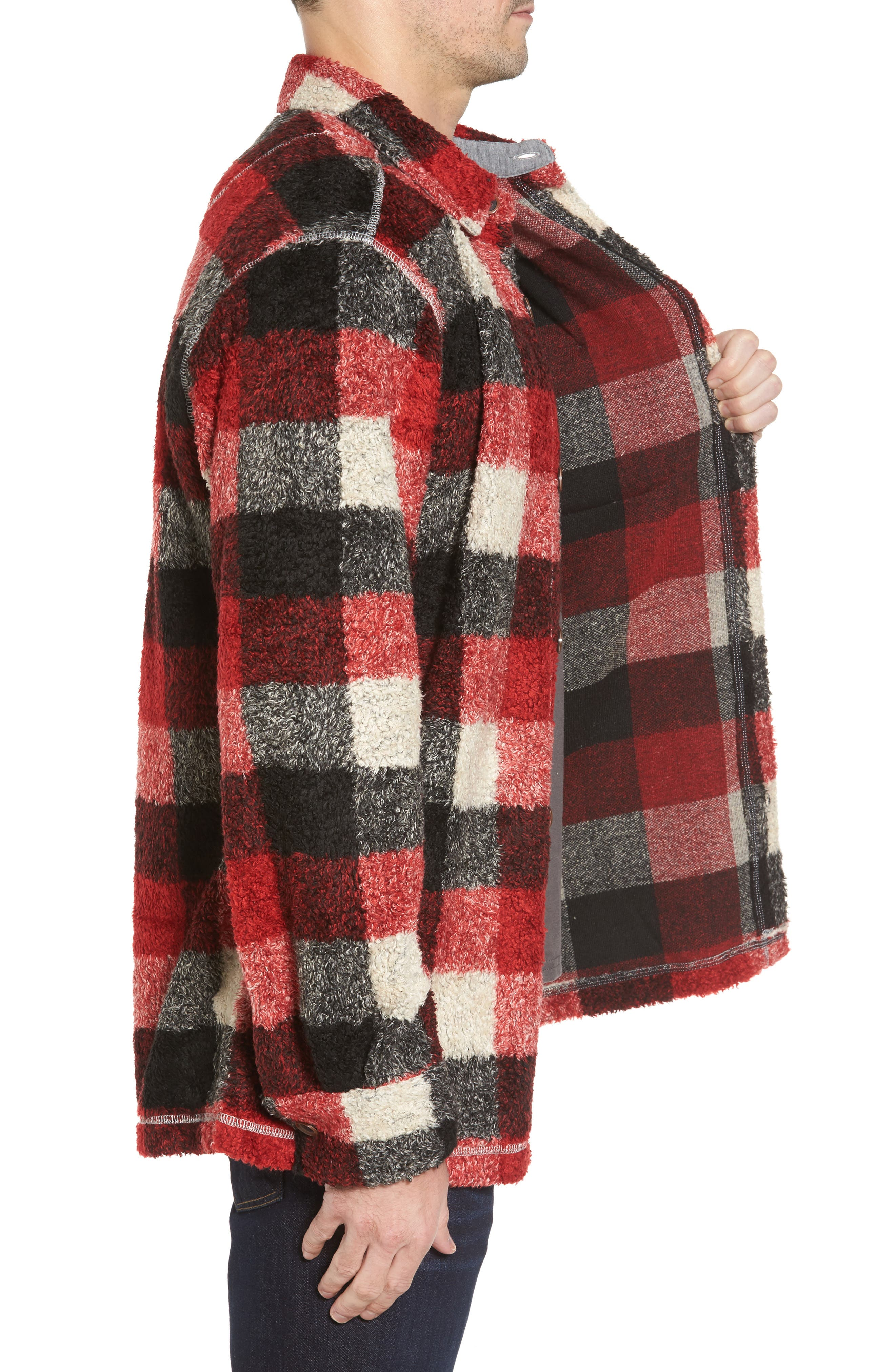 Textured Buffalo Check Shirt Jacket,                             Alternate thumbnail 3, color,                             Red/ Black
