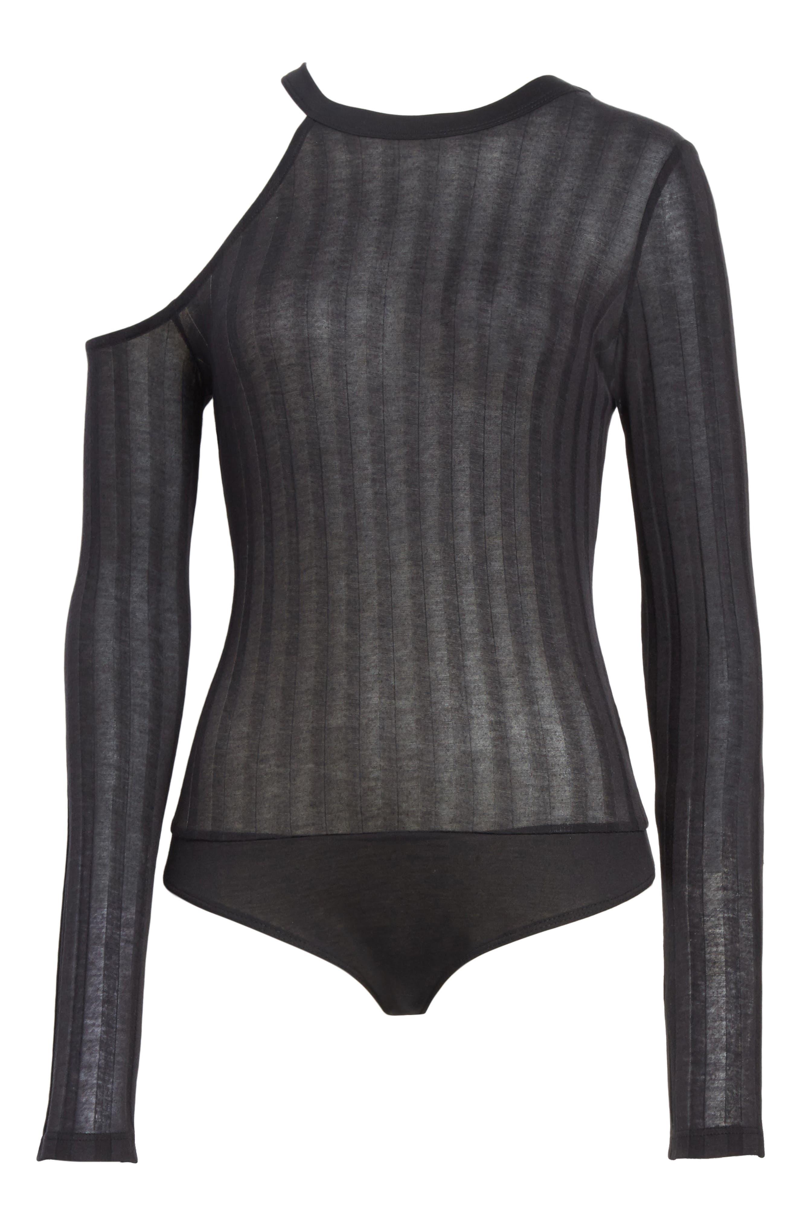 Lookout One-Shoulder Jersey Bodysuit,                             Alternate thumbnail 6, color,                             Black
