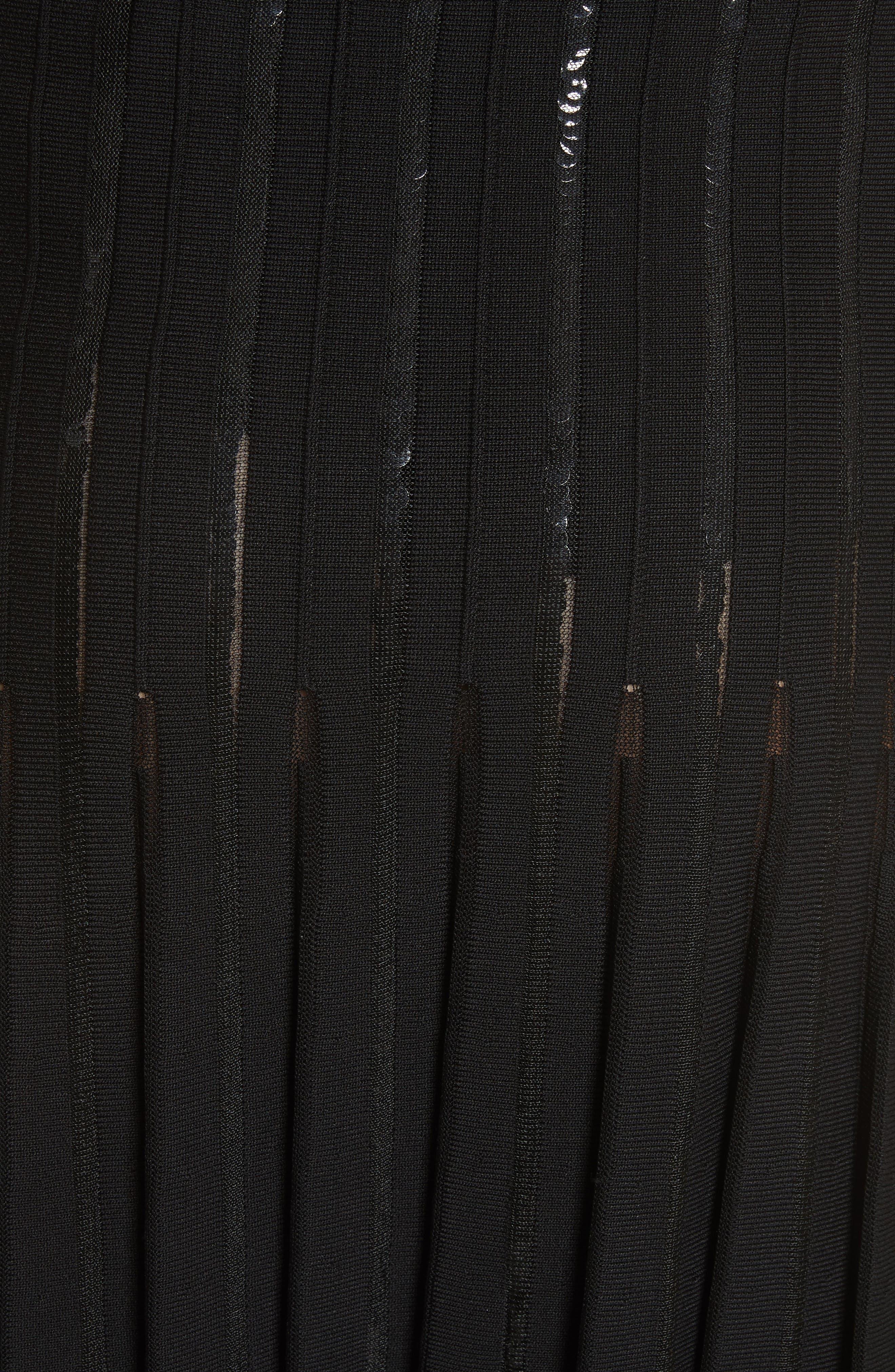 Pleated Sequin Flare Skirt,                             Alternate thumbnail 6, color,                             Black