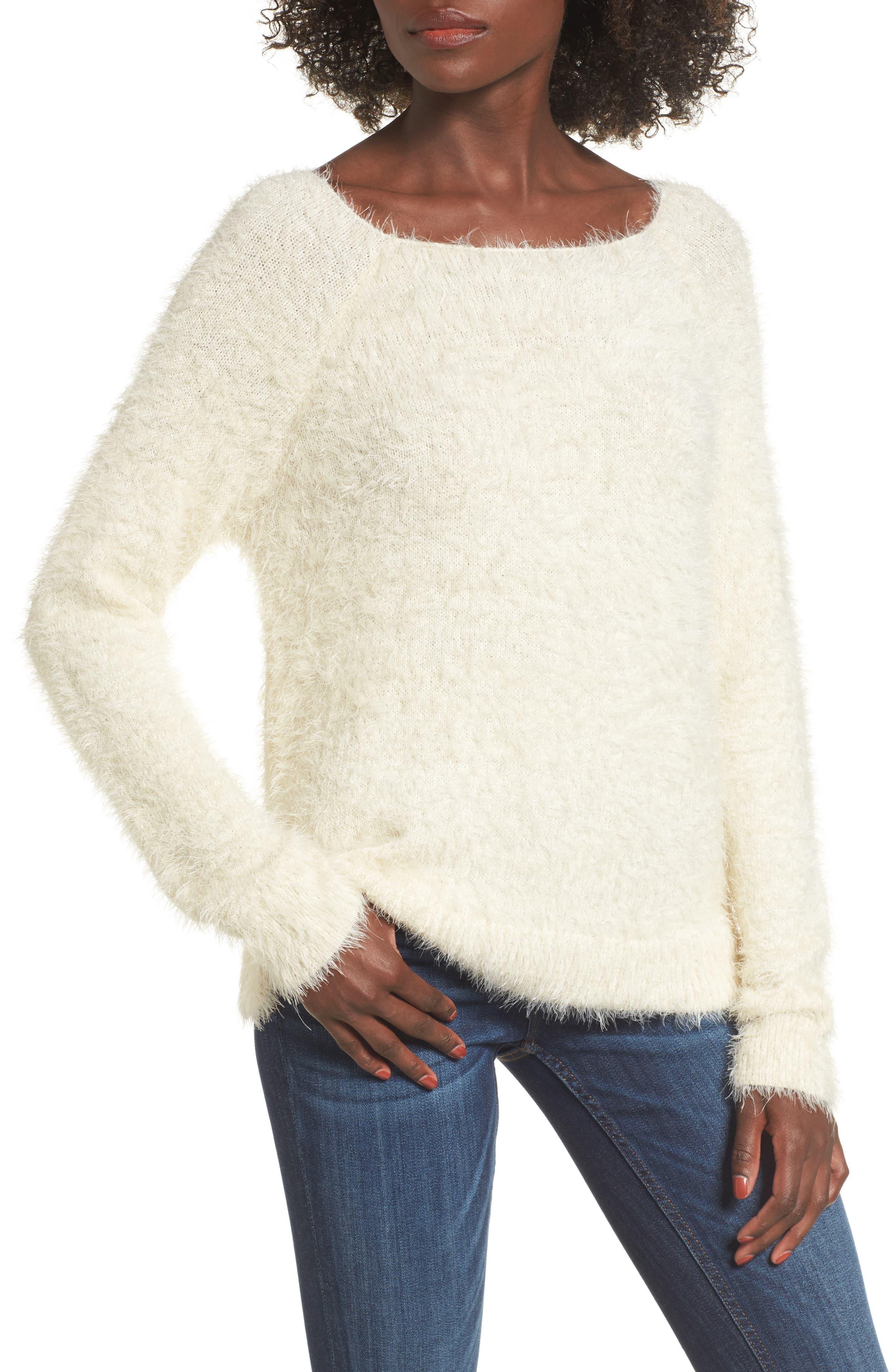 Eyelash Sweater,                             Main thumbnail 1, color,                             Ivory