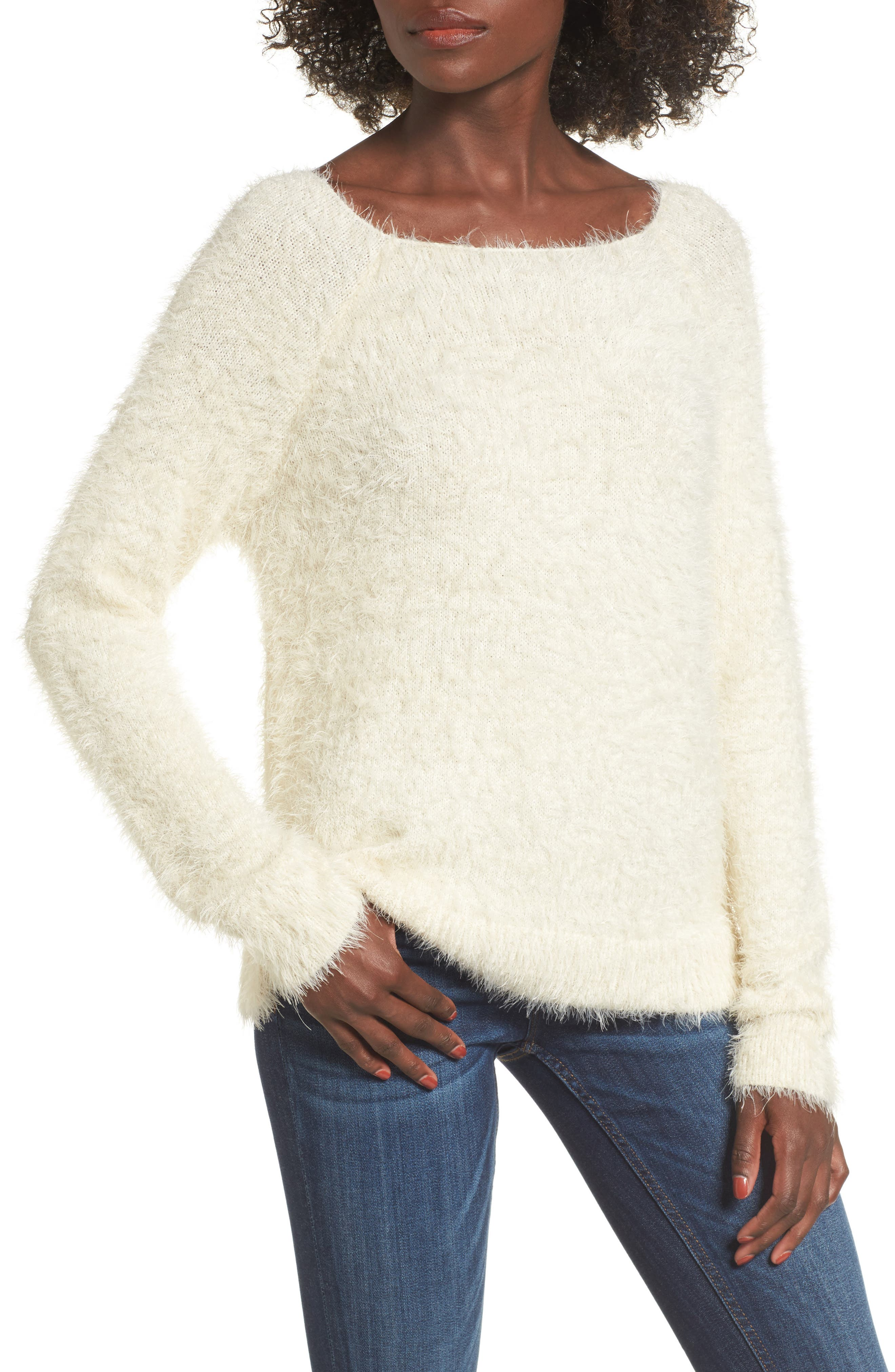 Eyelash Sweater,                         Main,                         color, Ivory