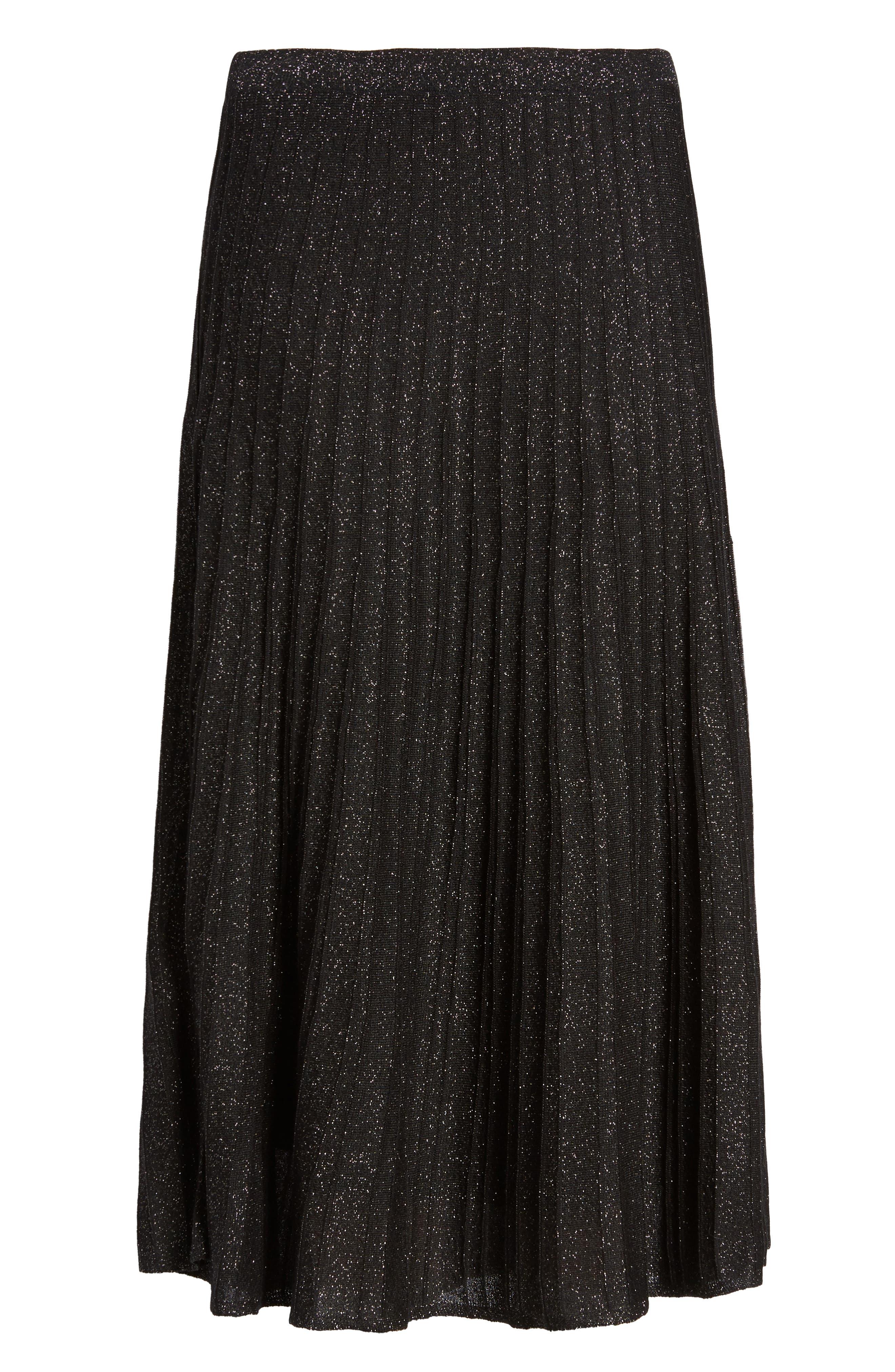 Luminary Pleated Midi Skirt,                             Alternate thumbnail 6, color,                             Black Mix