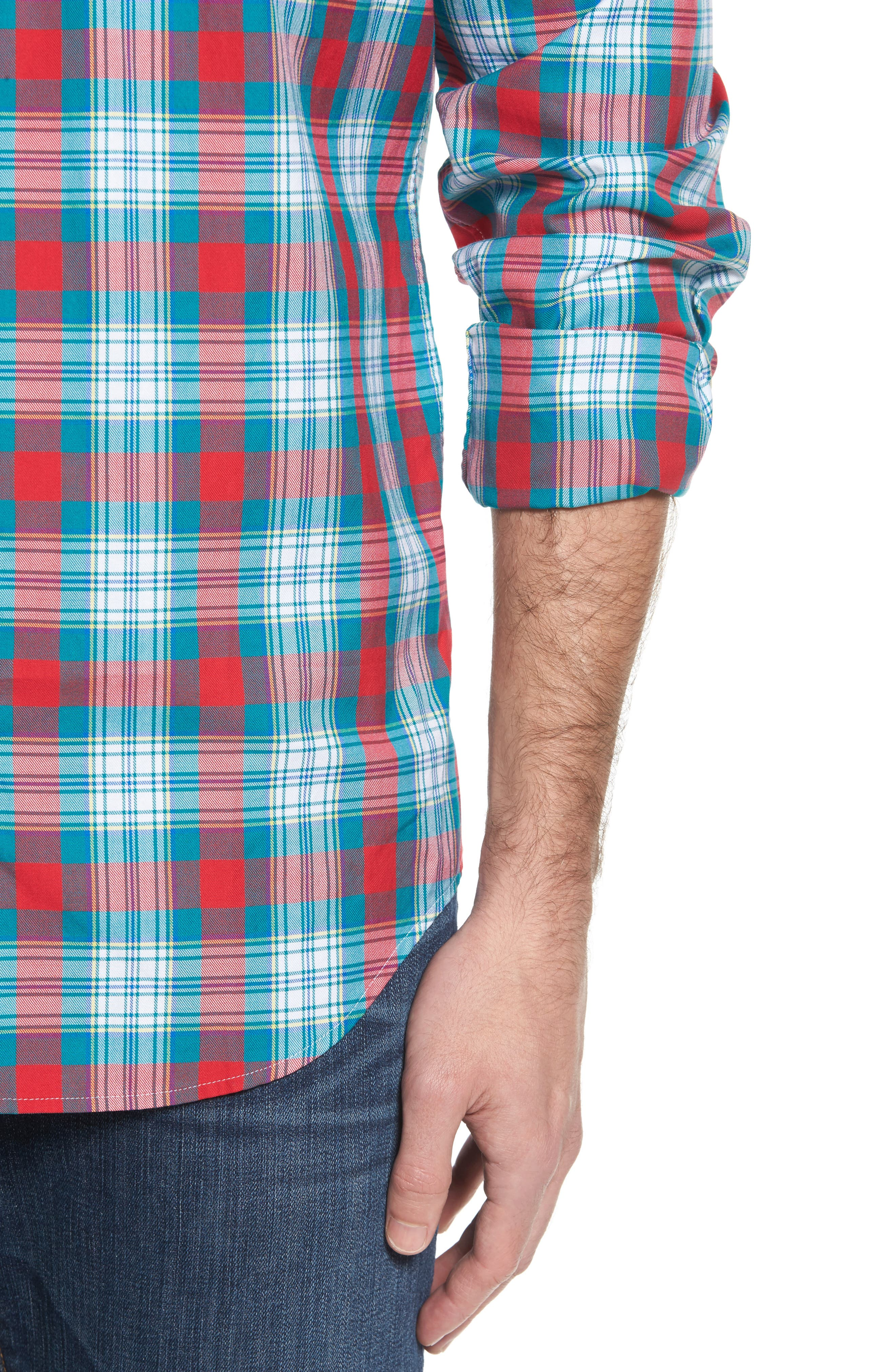 Elmwood Classic Fit Plaid Sport Shirt,                             Alternate thumbnail 4, color,                             Cape Teal