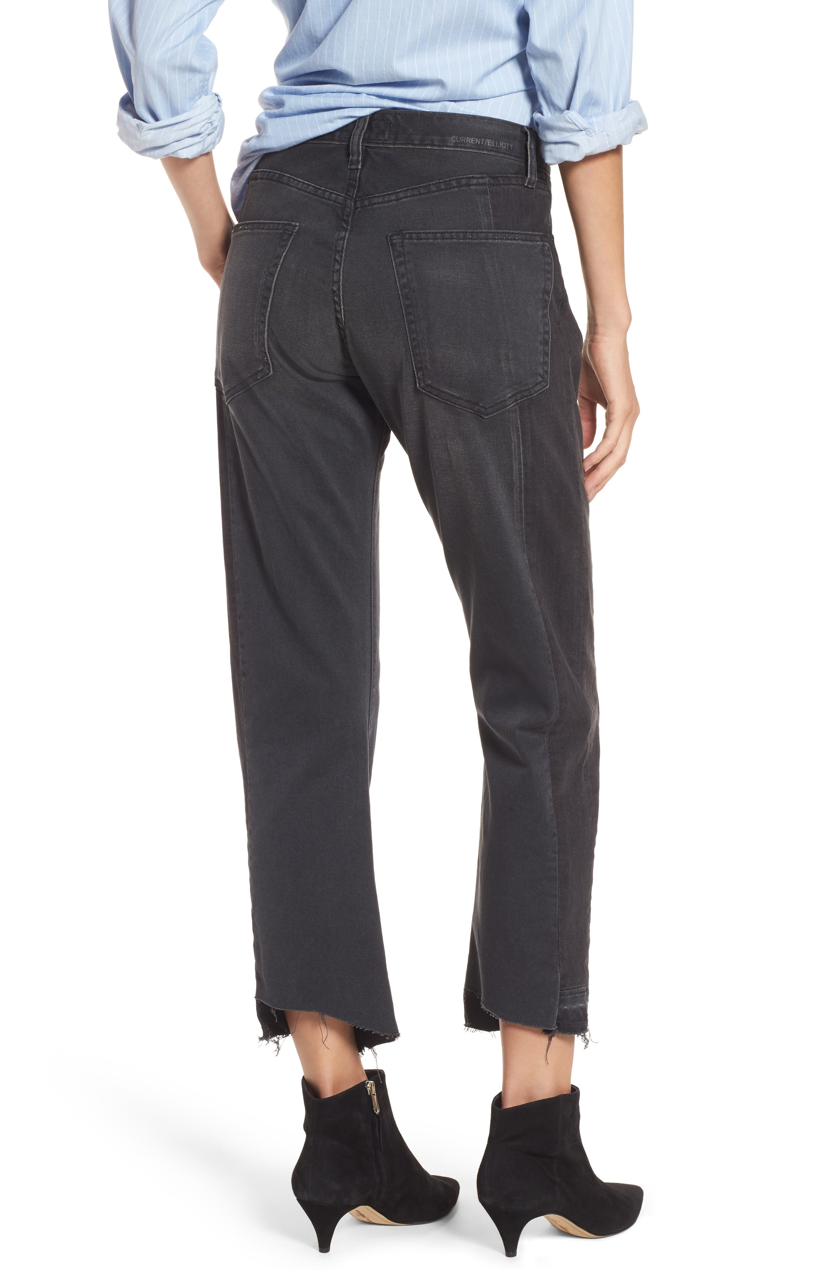 Alternate Image 2  - Current/Elliott The Dallon Zip High Waist Crop Straight Jeans (Highline)