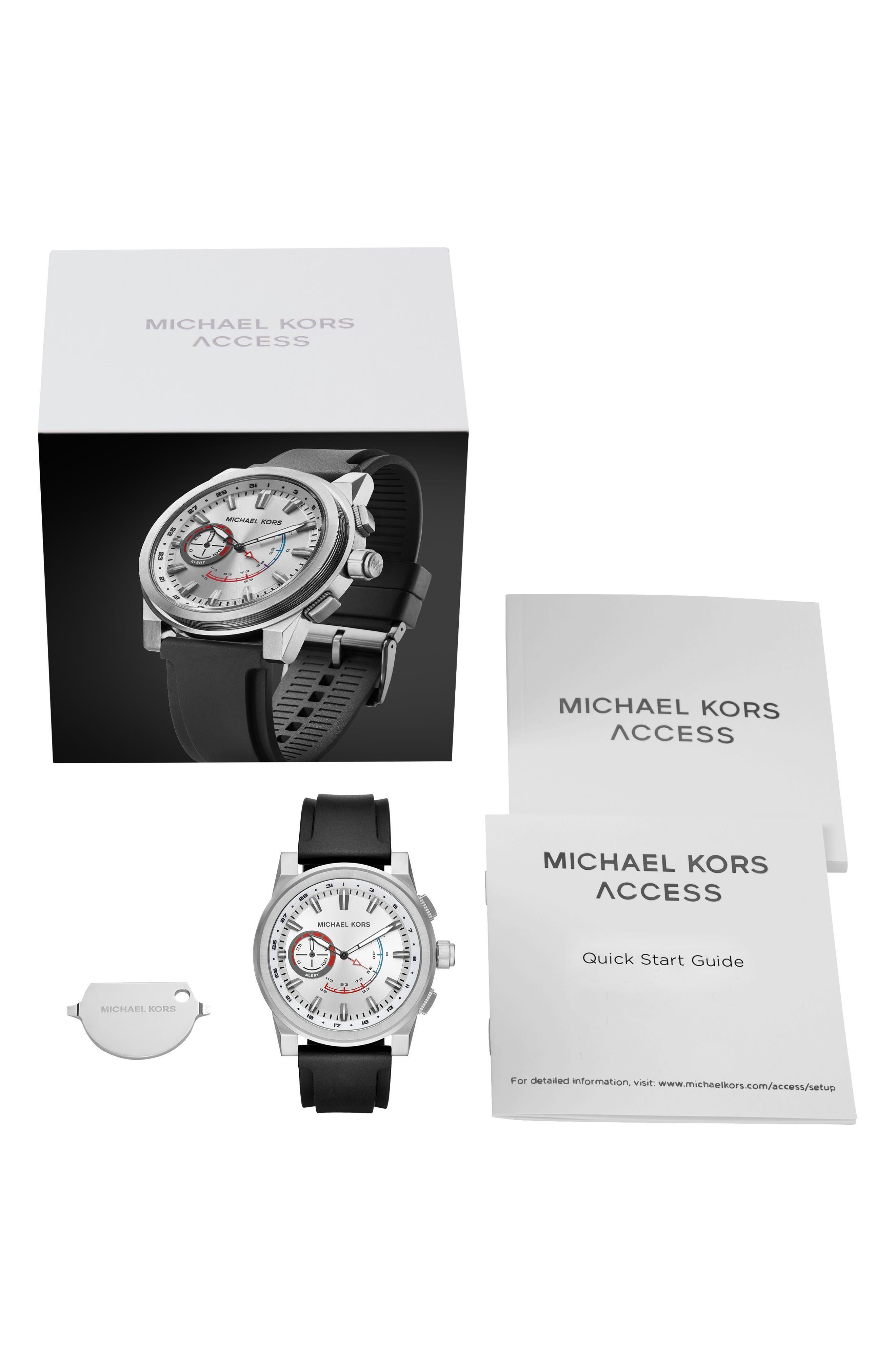 Grayson Hybrid Silicone Strap Smart Watch, 47mm,                             Alternate thumbnail 4, color,                             Black/ Silver